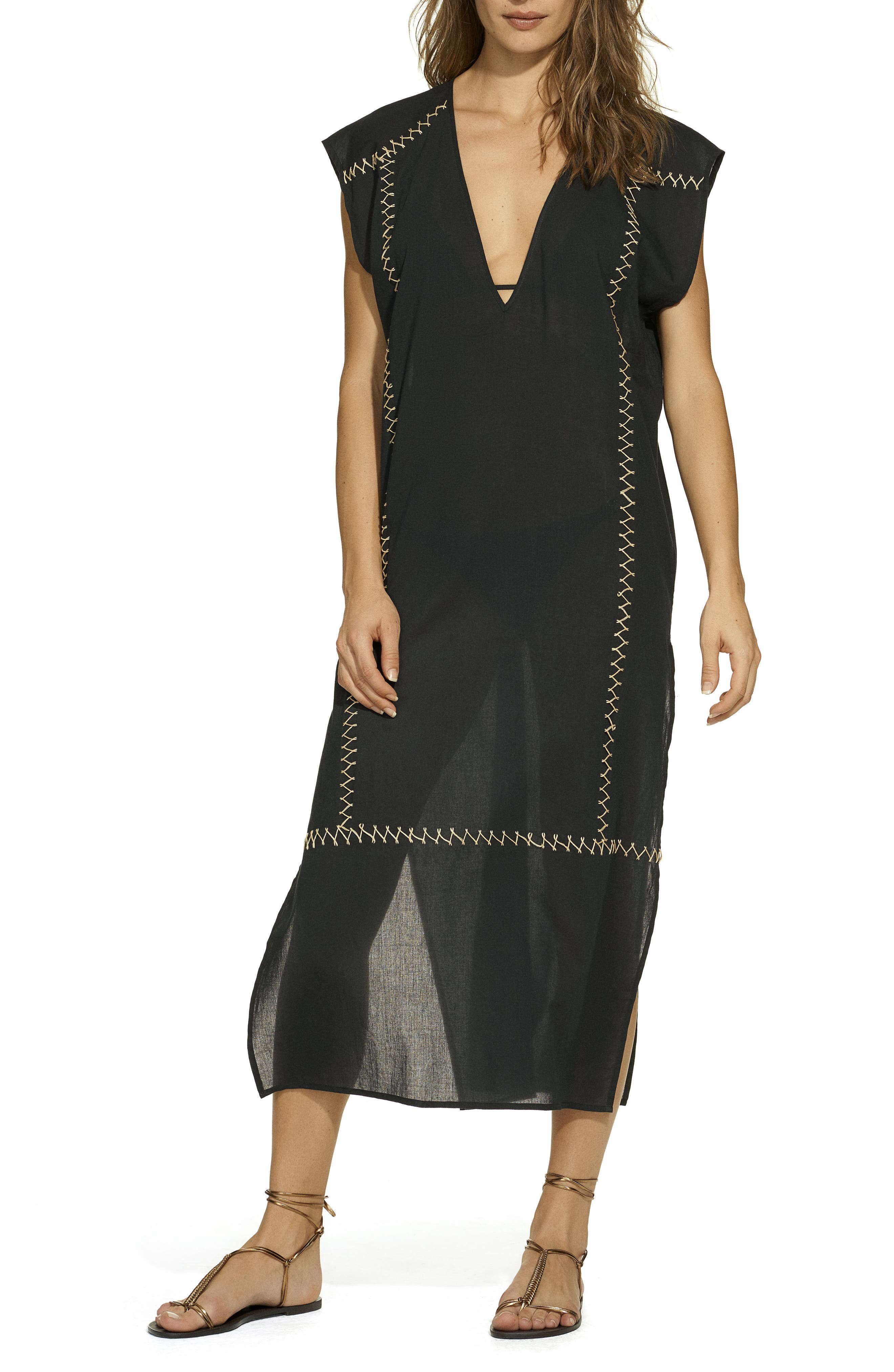 Emily Cover-Up Caftan,                         Main,                         color, BLACK