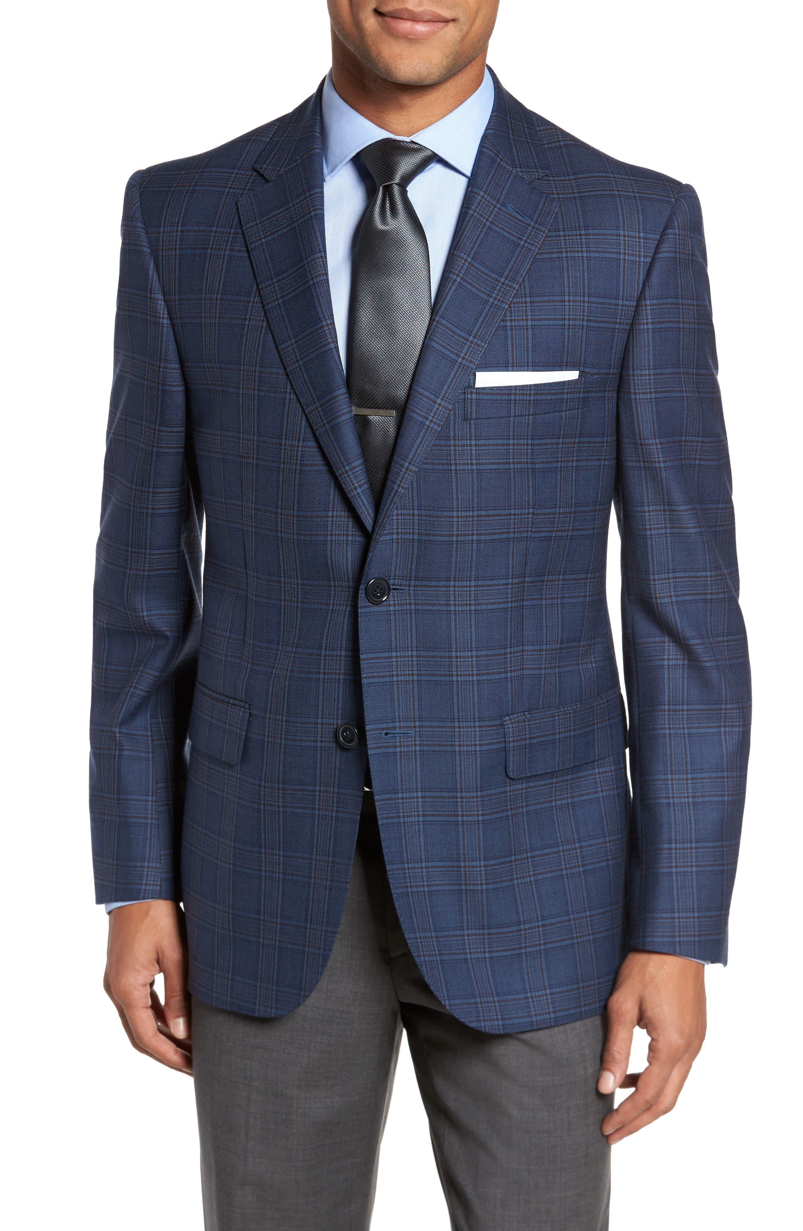 Classic Fit Plaid Wool Sport Coat,                             Main thumbnail 1, color,                             422