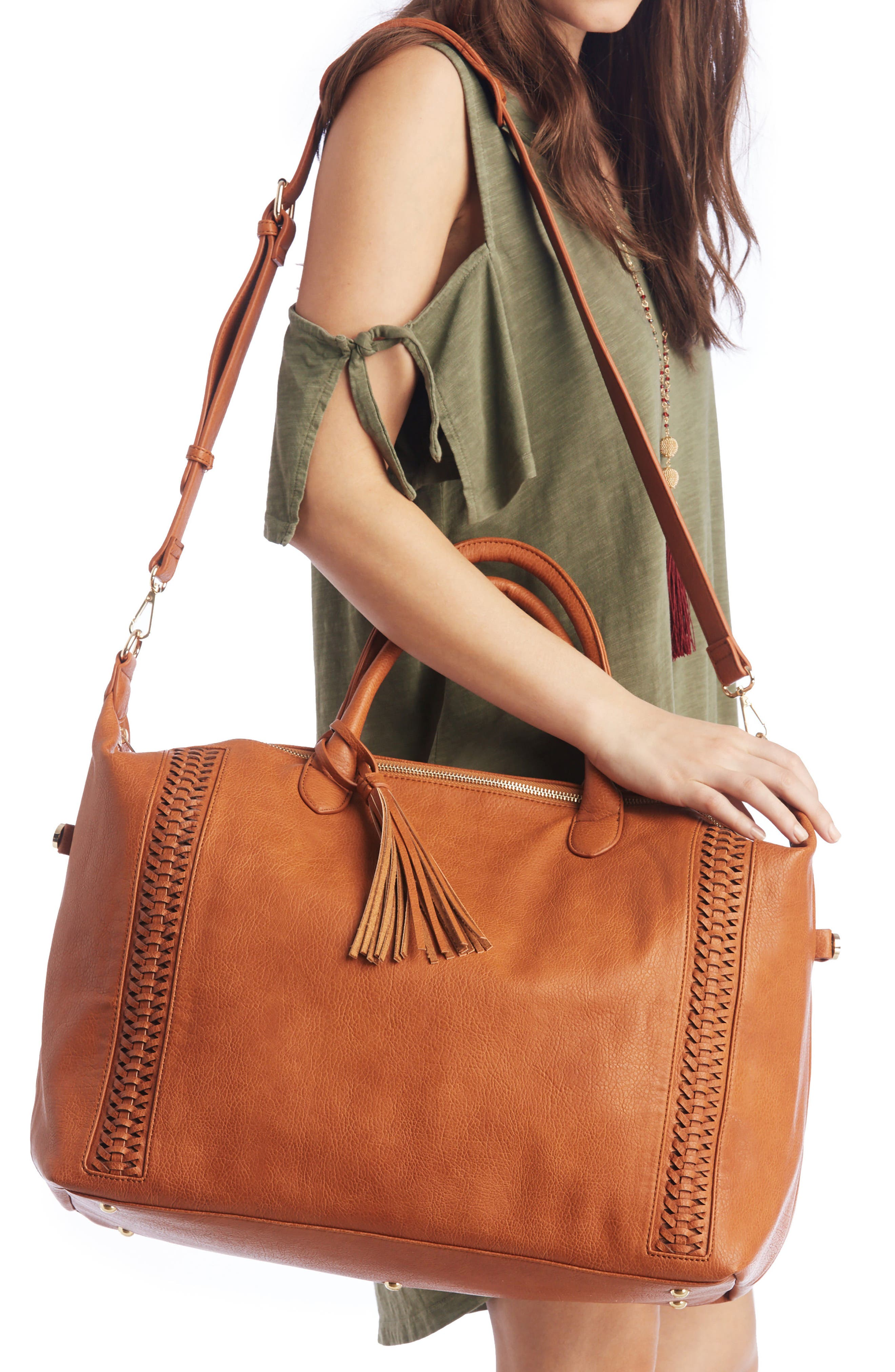 Tara Whipstitched Faux Leather Weekend Bag,                             Alternate thumbnail 4, color,