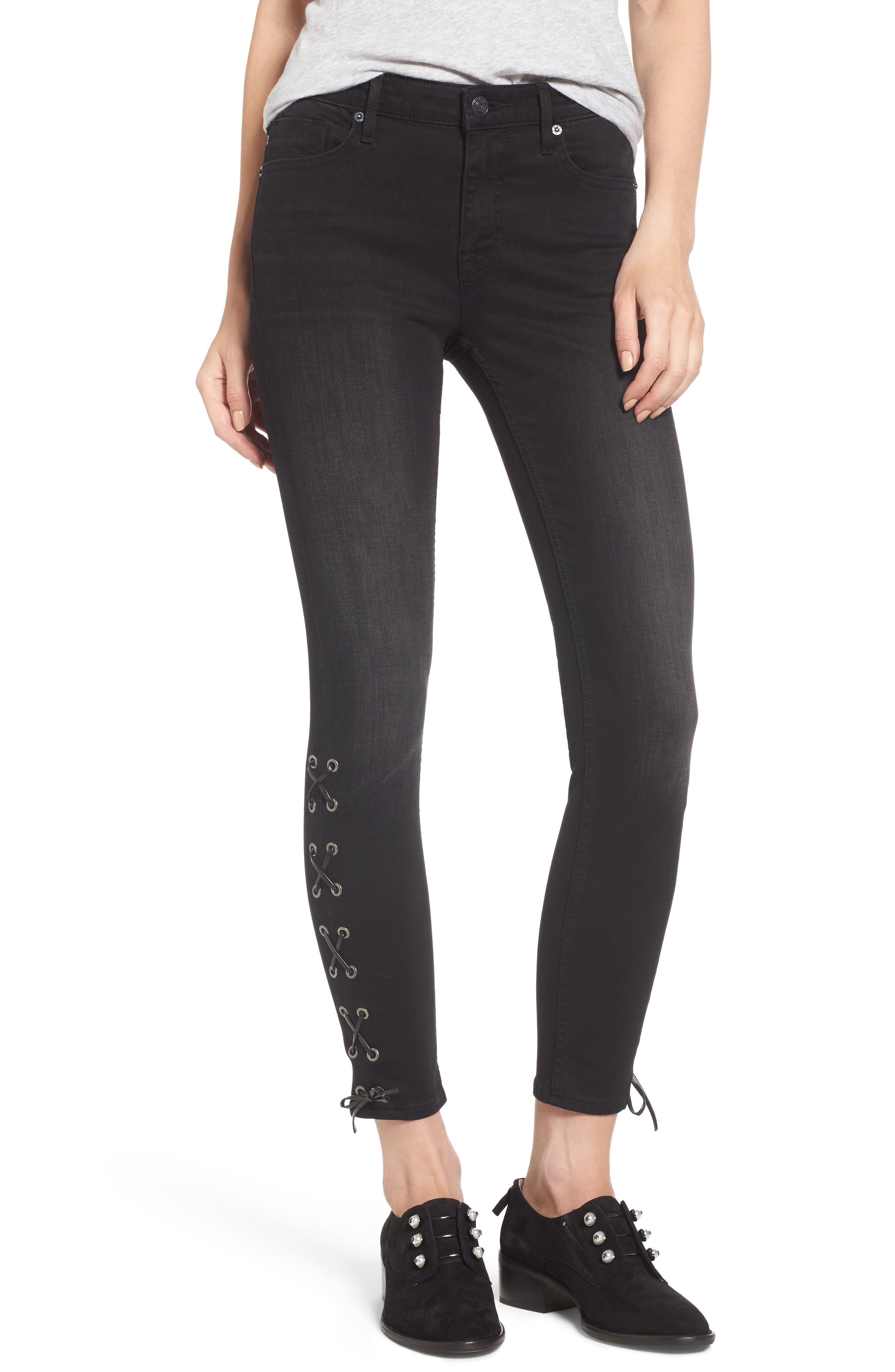 Lace-Up Distressed Skinny Jeans,                             Main thumbnail 1, color,                             001