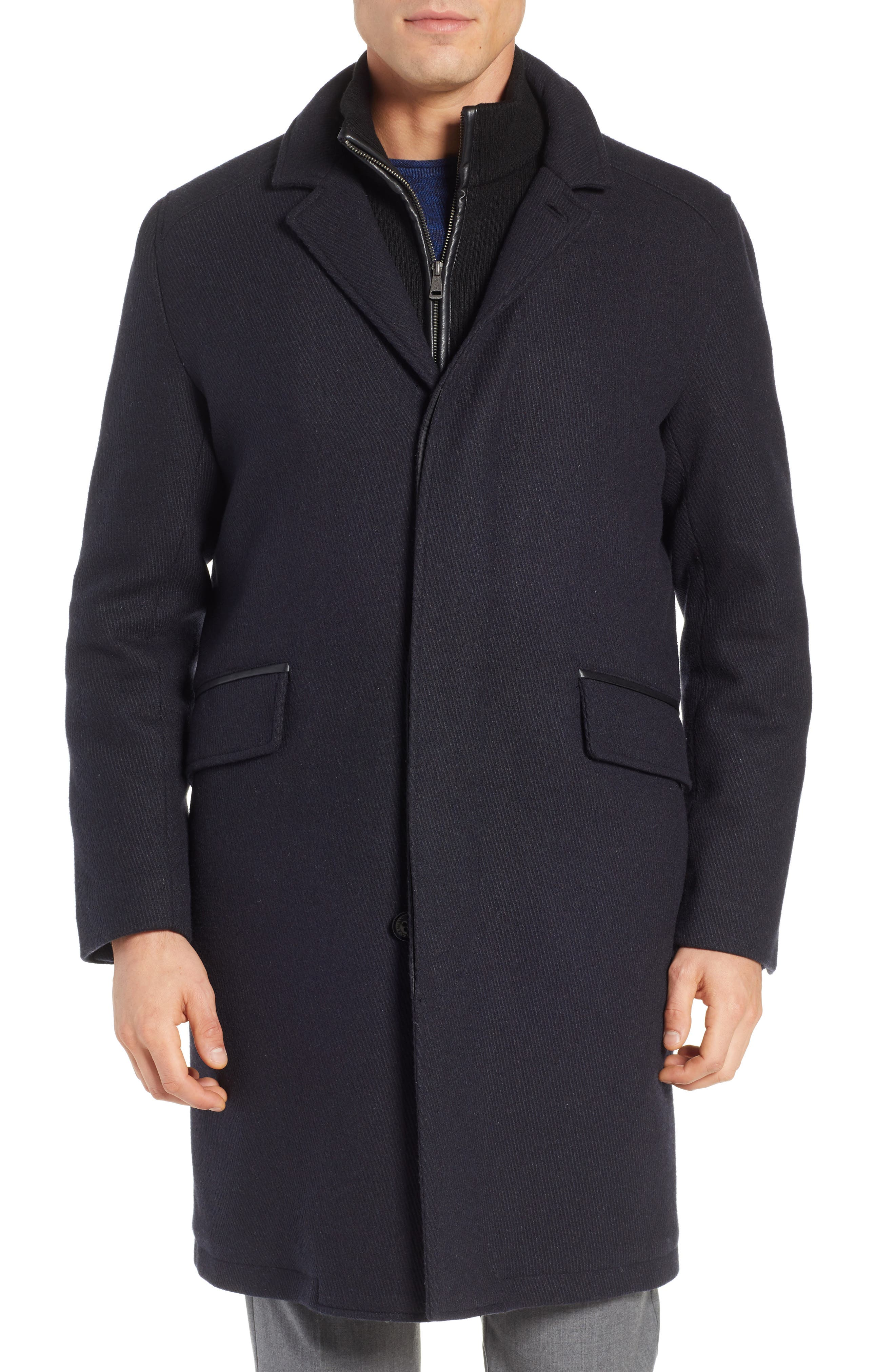 Wool Blend Overcoat with Knit Bib Inset,                             Alternate thumbnail 4, color,                             410