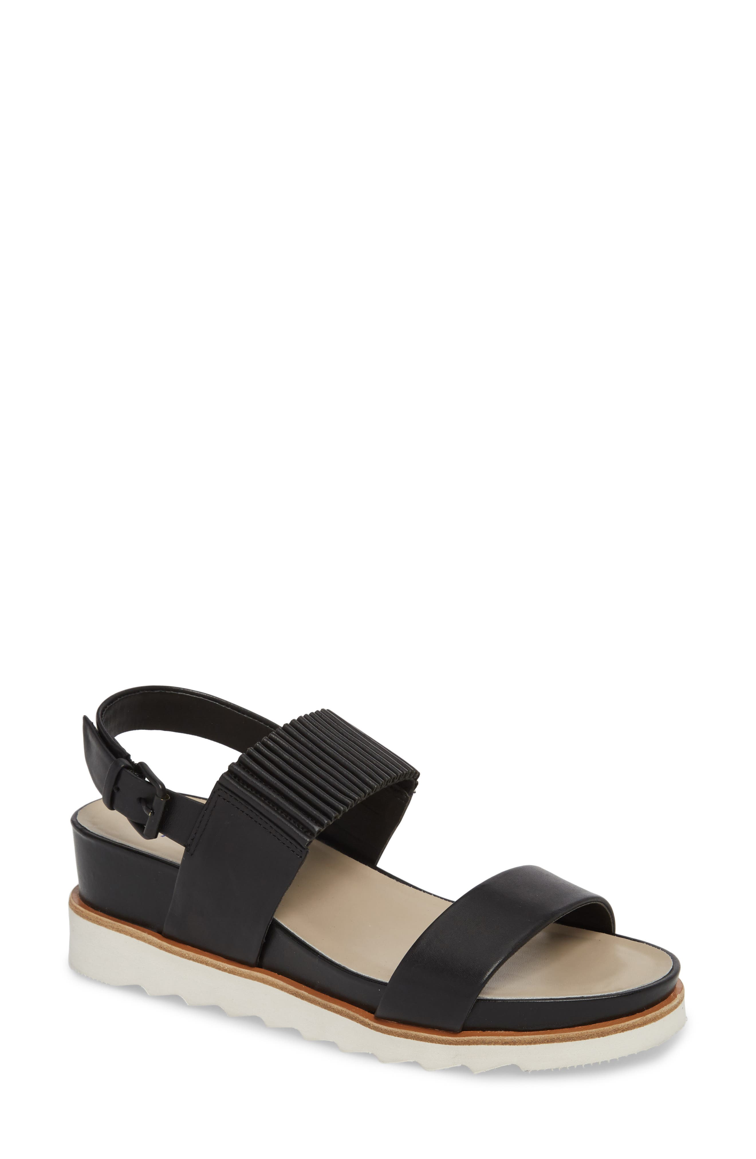 Grace Wedge Sandal,                         Main,                         color, BLACK LEATHER