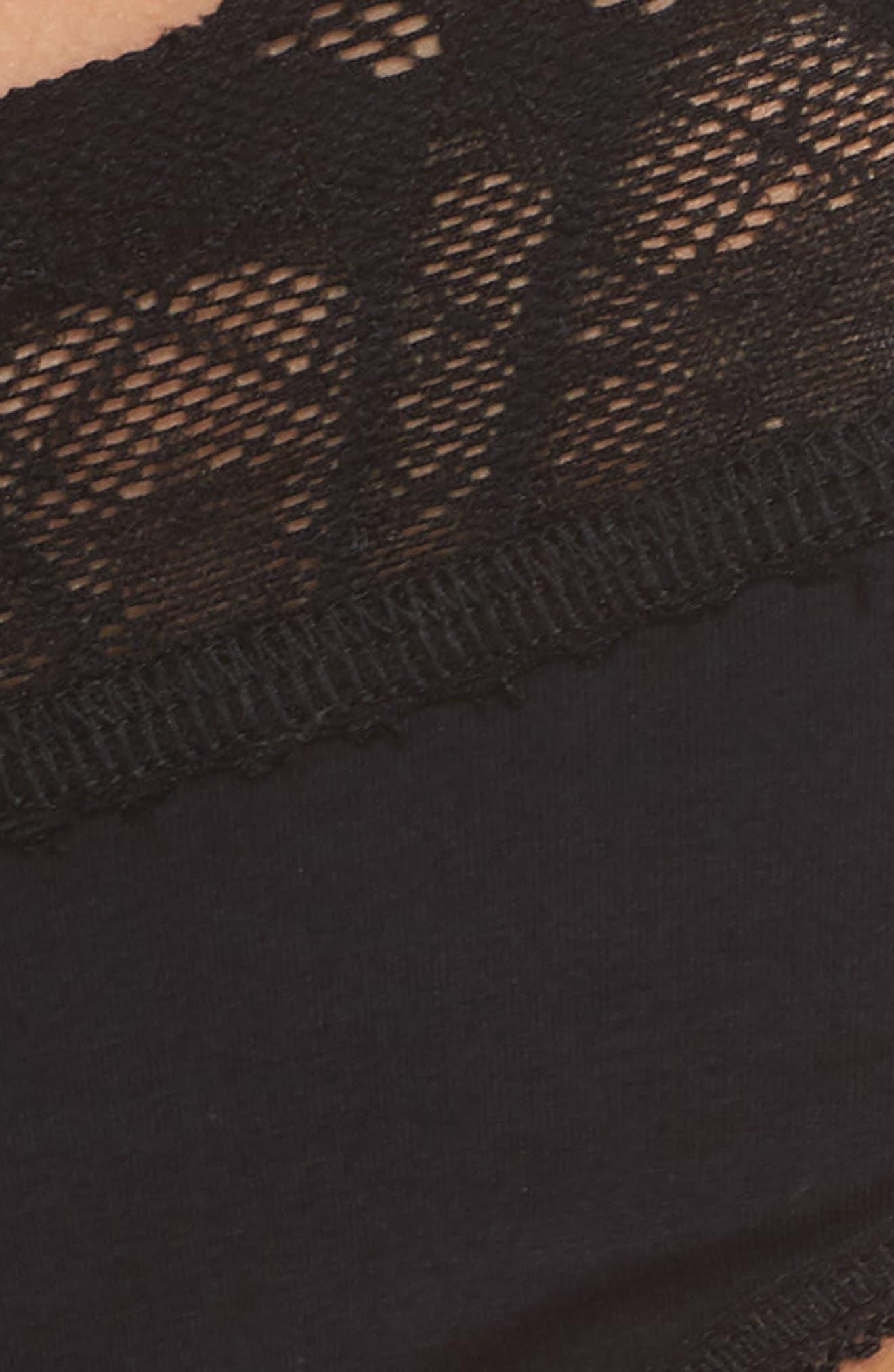 Lace Trim Cotton French Briefs,                             Alternate thumbnail 5, color,                             001