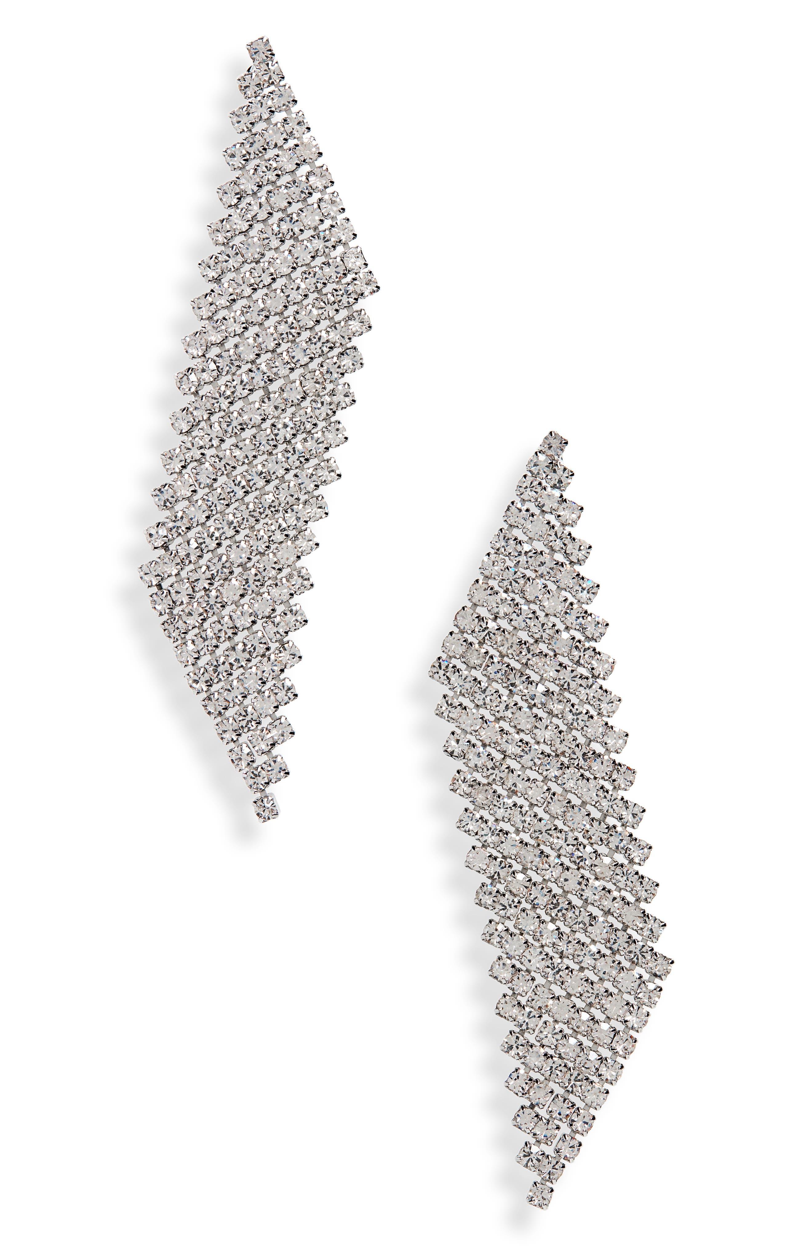 Crystal Slice Earrings,                         Main,                         color, SILVER/ CRYSTAL