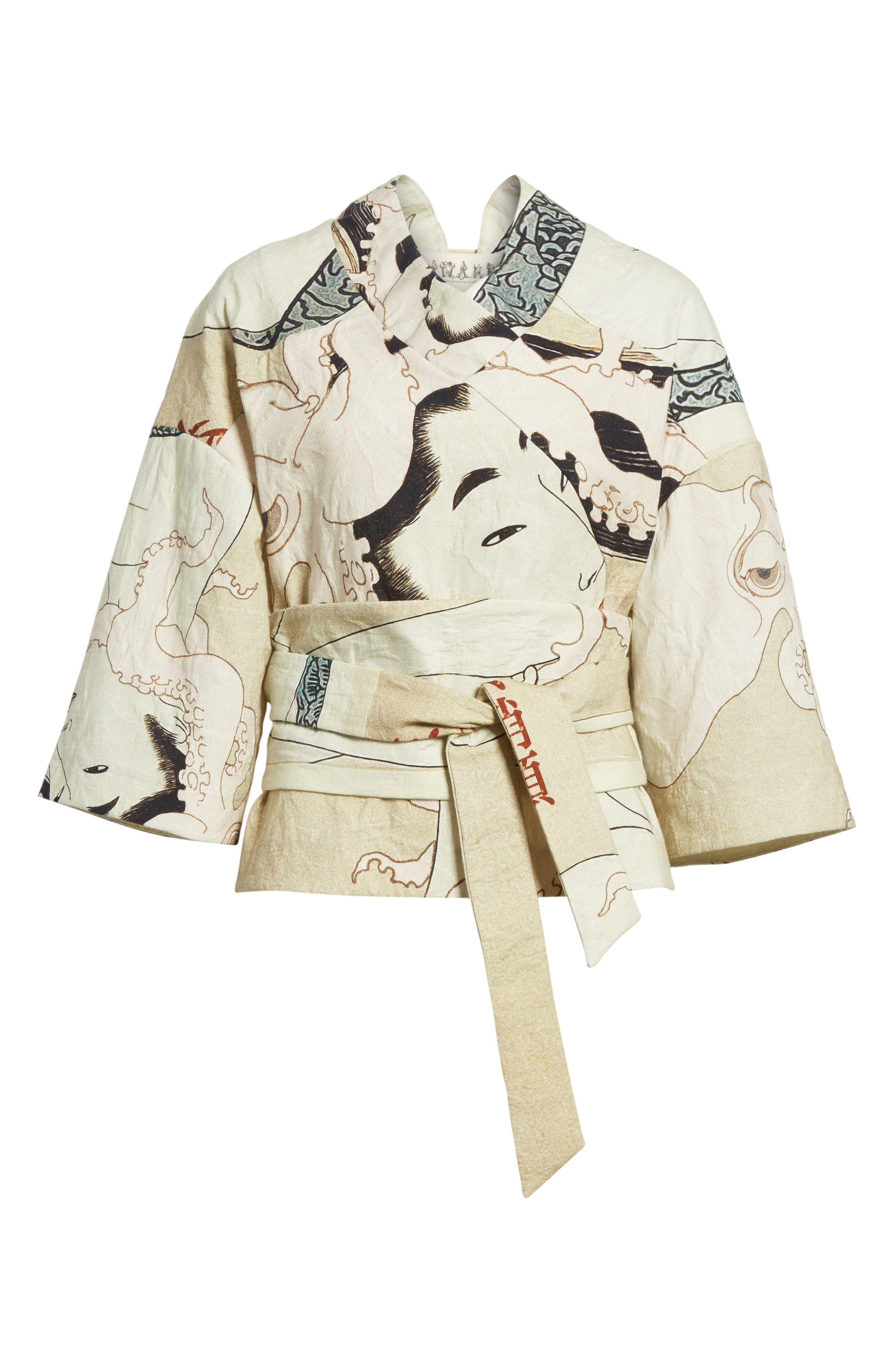 Printed Kimono Bomber Jacket,                             Alternate thumbnail 5, color,                             250