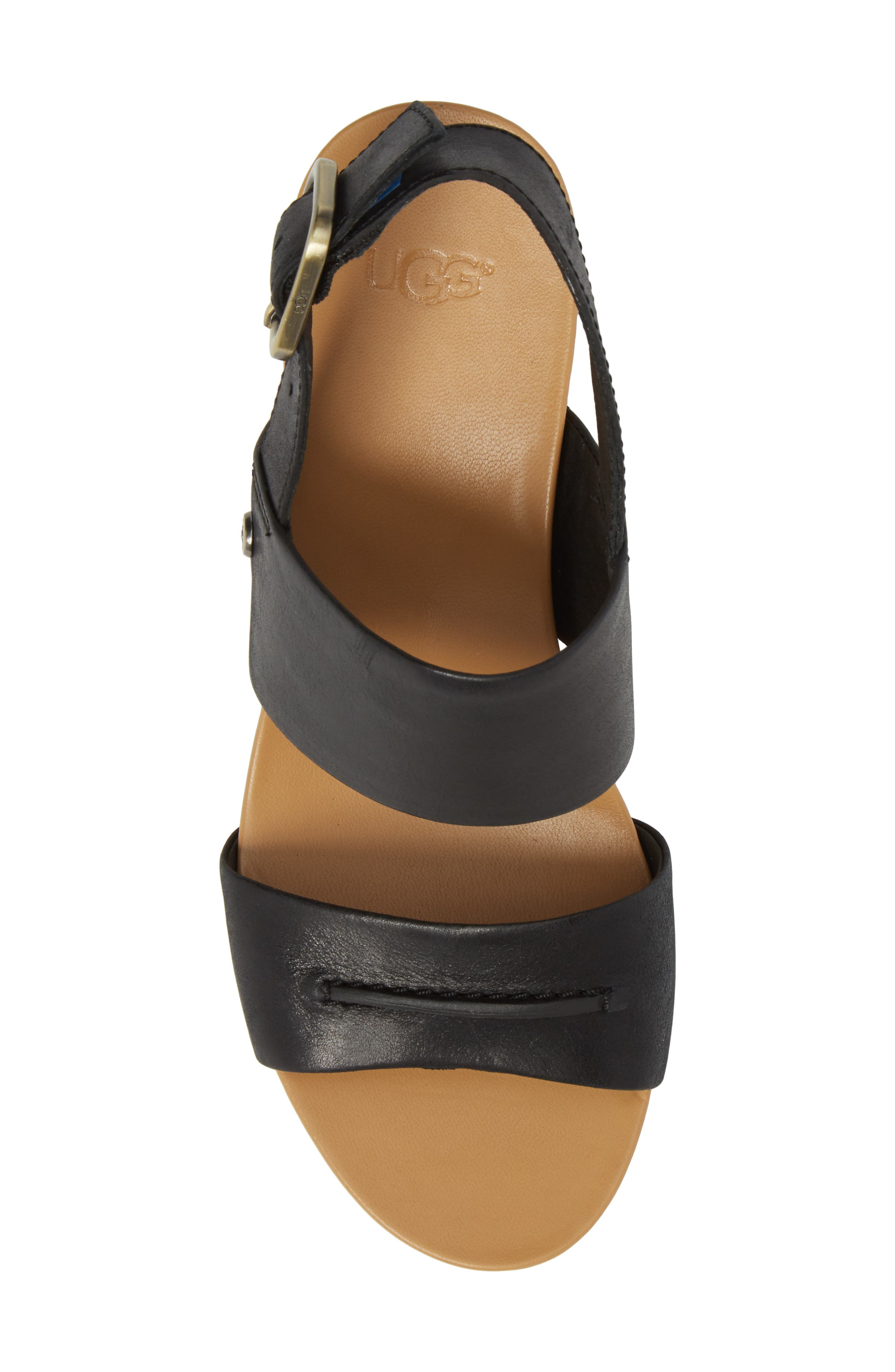 Elena II Platform Wedge Sandal,                             Alternate thumbnail 5, color,                             001