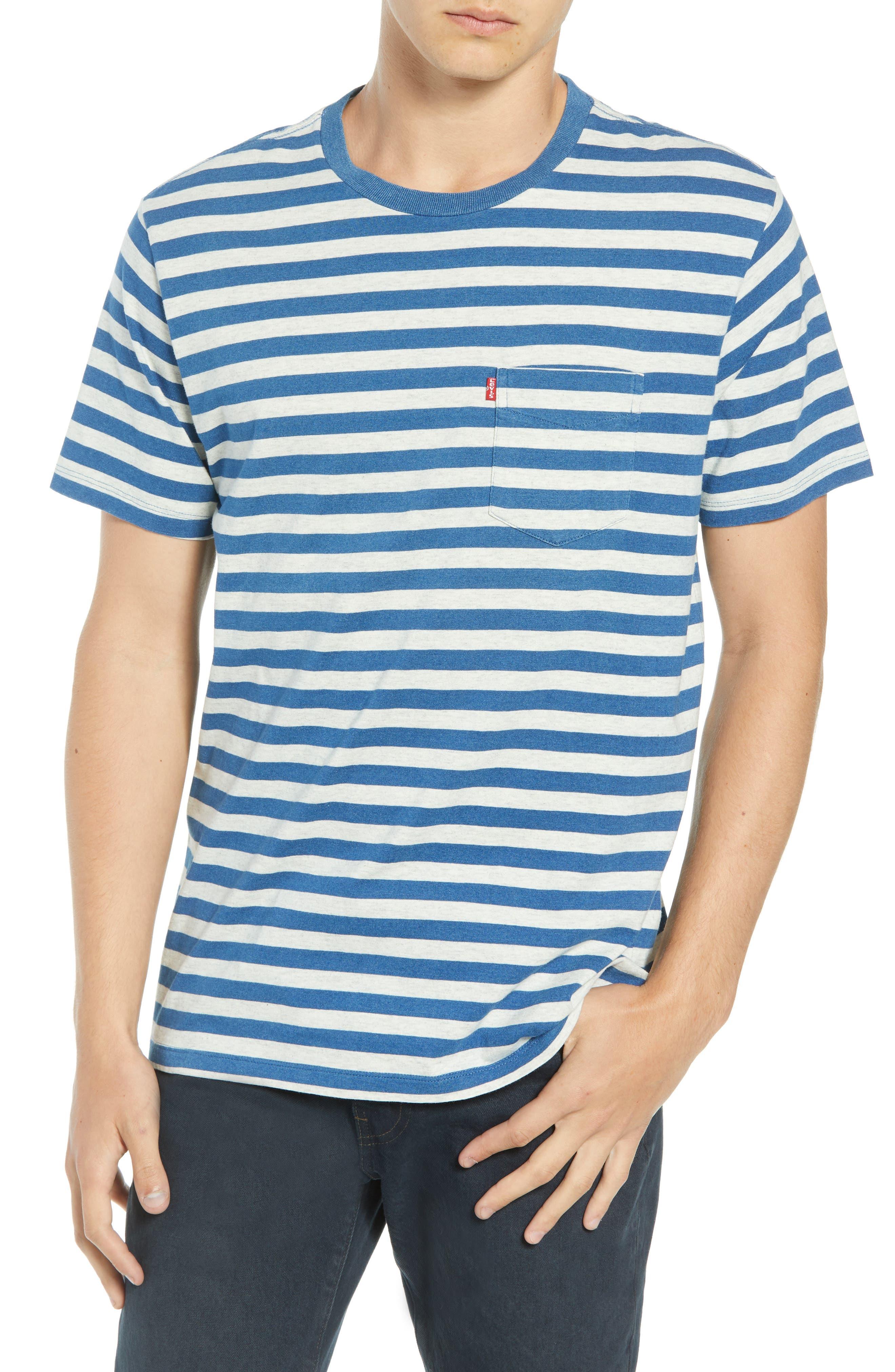 Sunset Stripe Pocket T-Shirt,                             Main thumbnail 1, color,                             CREAM HALF INCH STRIPE