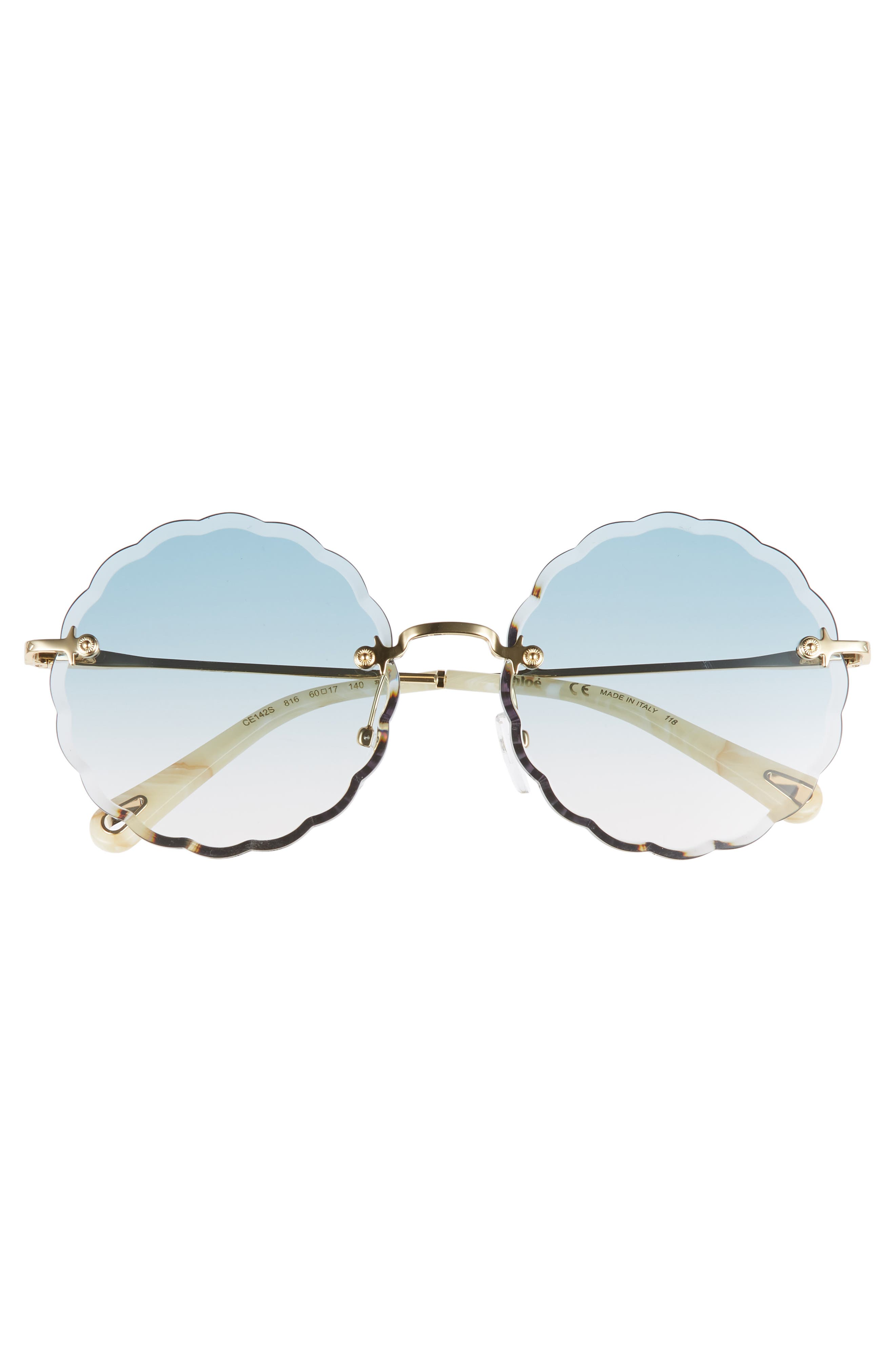 Rosie 60mm Scalloped Rimless Sunglasses,                             Alternate thumbnail 3, color,                             GOLD/ GRADIENT BLUE