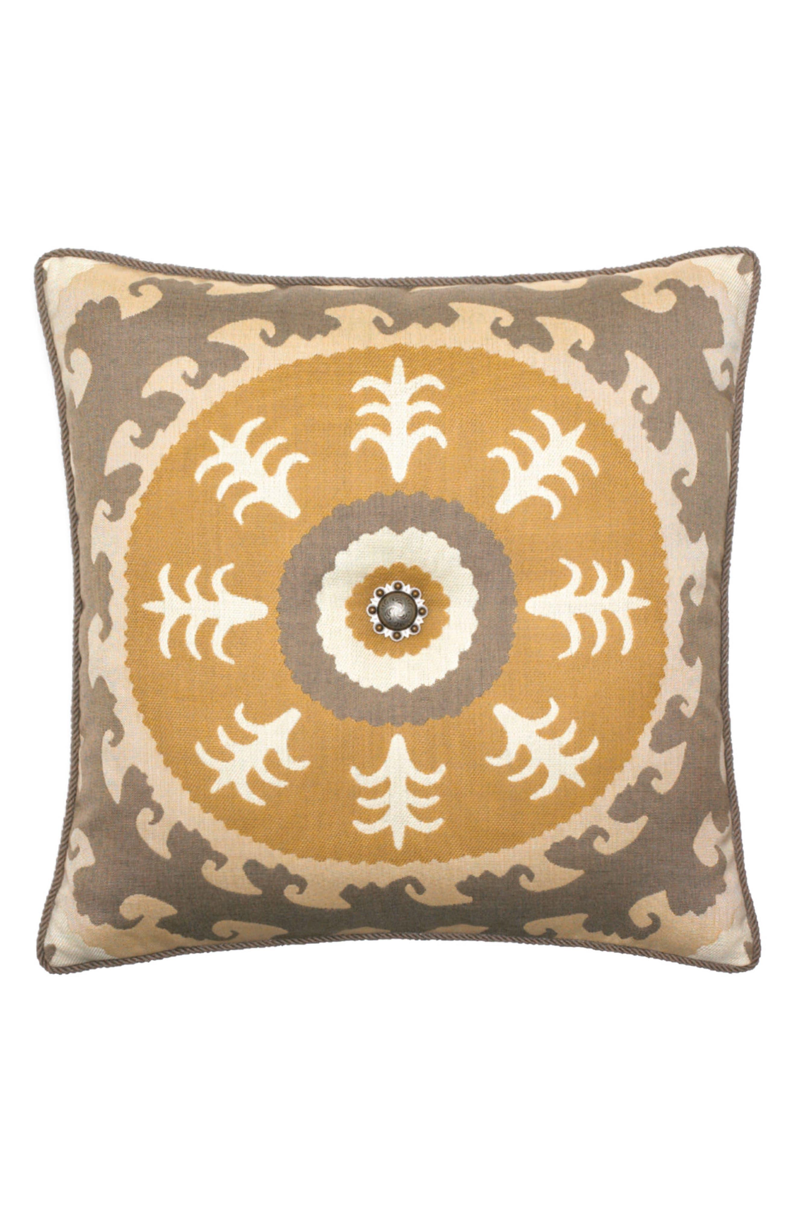 Jeweled Sedona Sun Indoor/Outdoor Accent Pillow,                         Main,                         color, GOLD/ GREY