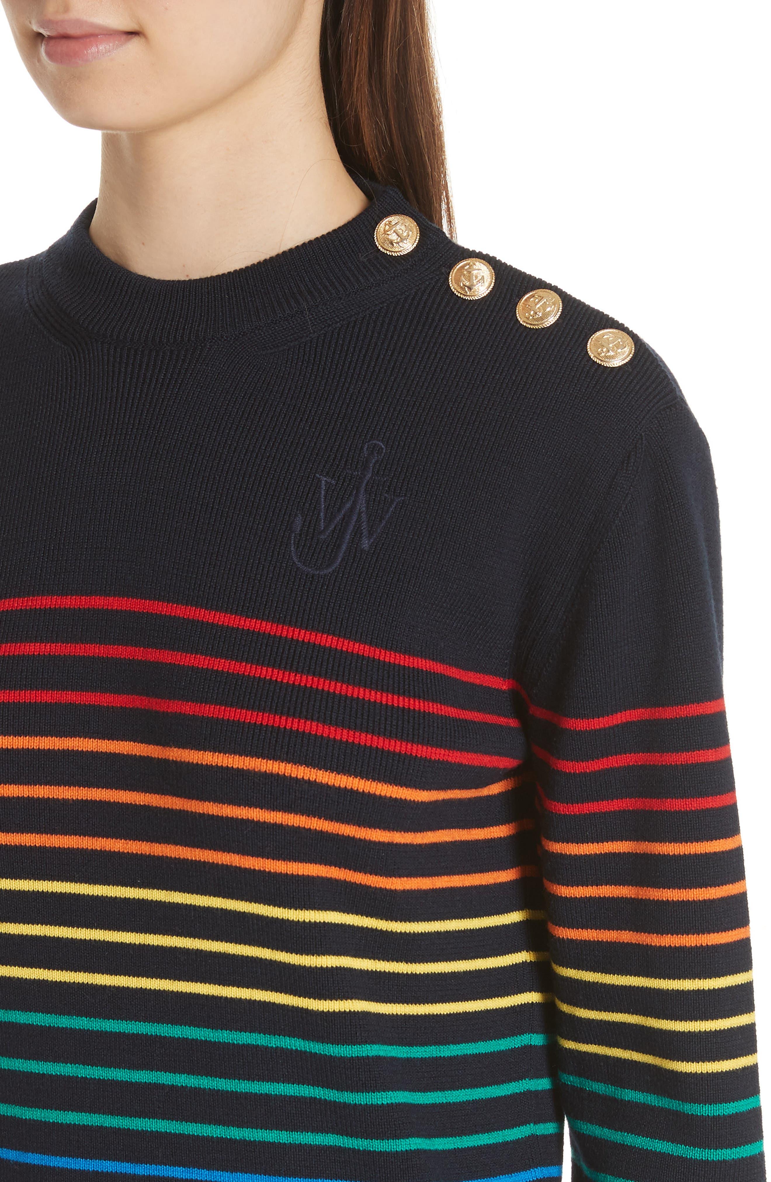Marinière Stripe Wool Sweater,                             Alternate thumbnail 4, color,                             400
