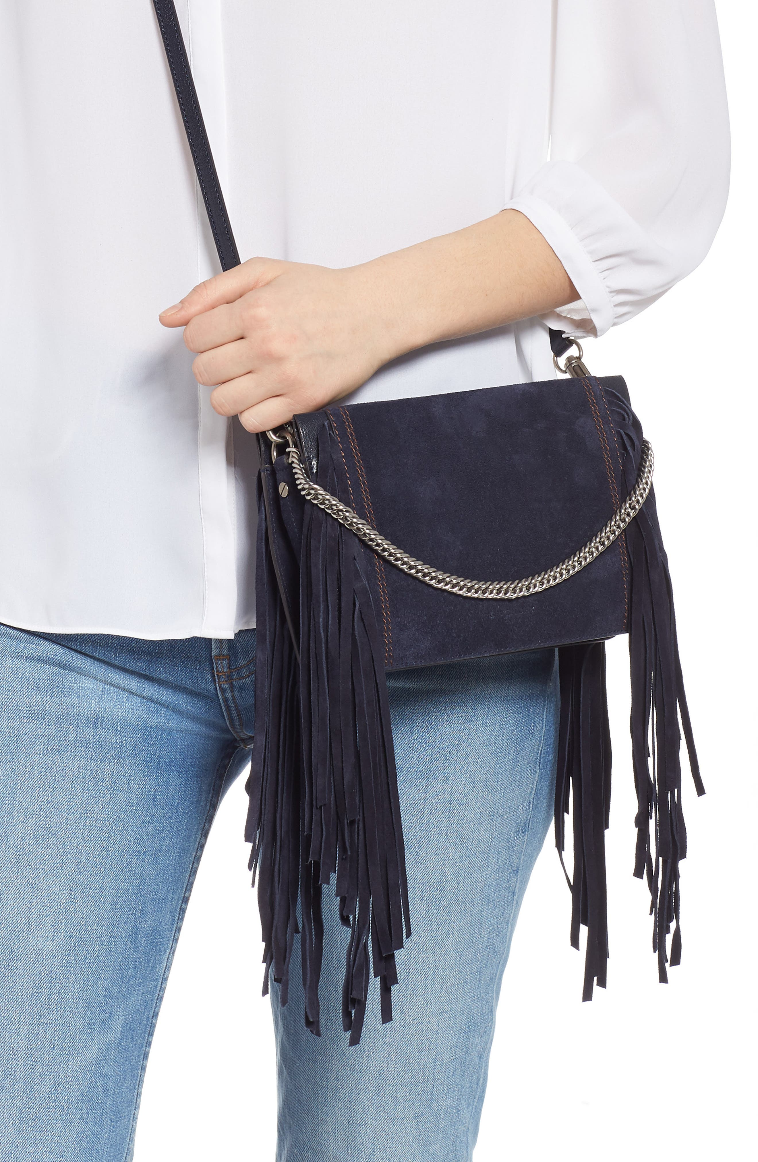 Cross 3 Fringe Leather Crossbody Bag,                             Alternate thumbnail 3, color,                             401
