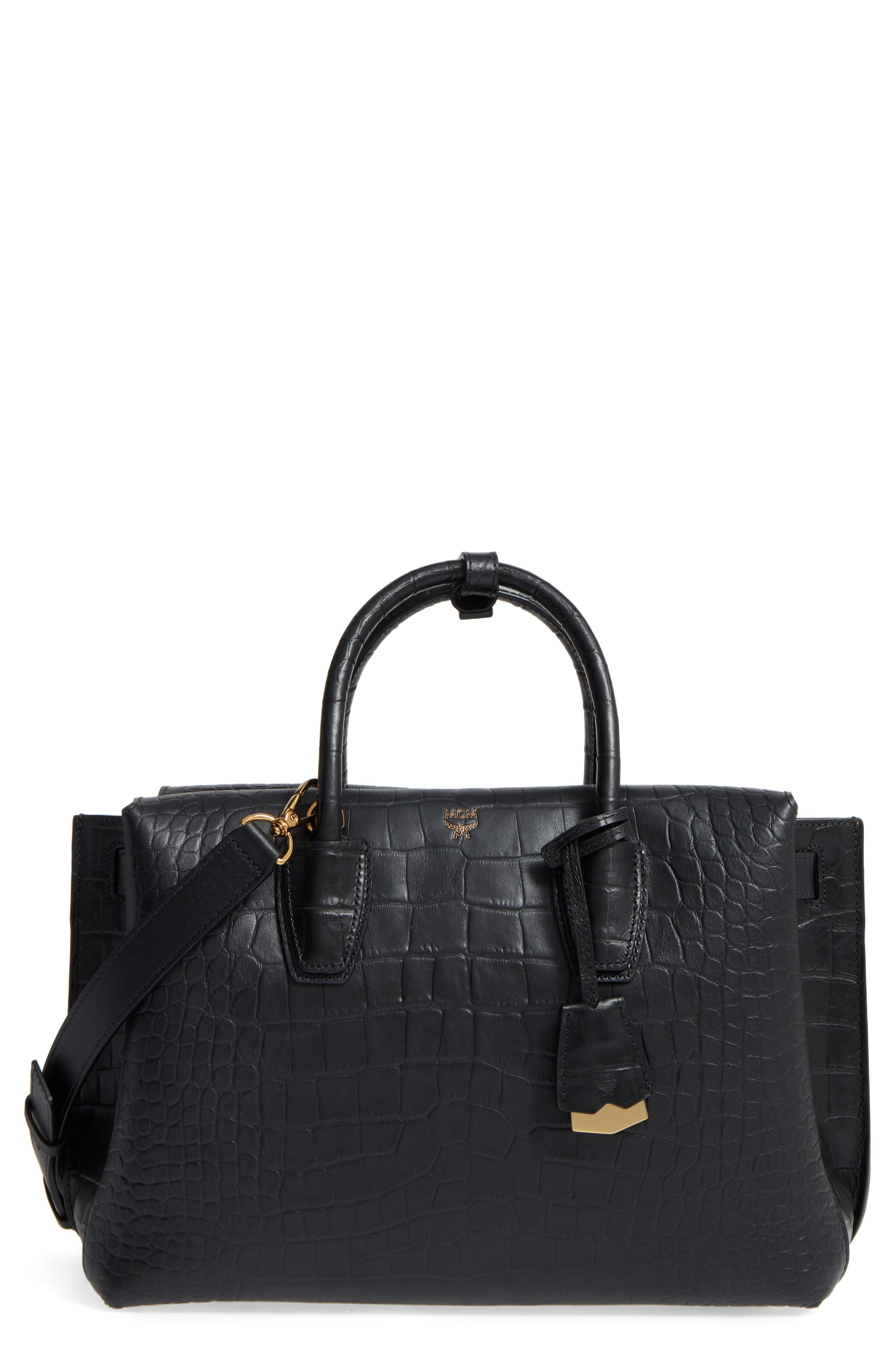 Medium Milla Croc Embossed Leather Tote,                         Main,                         color, 001