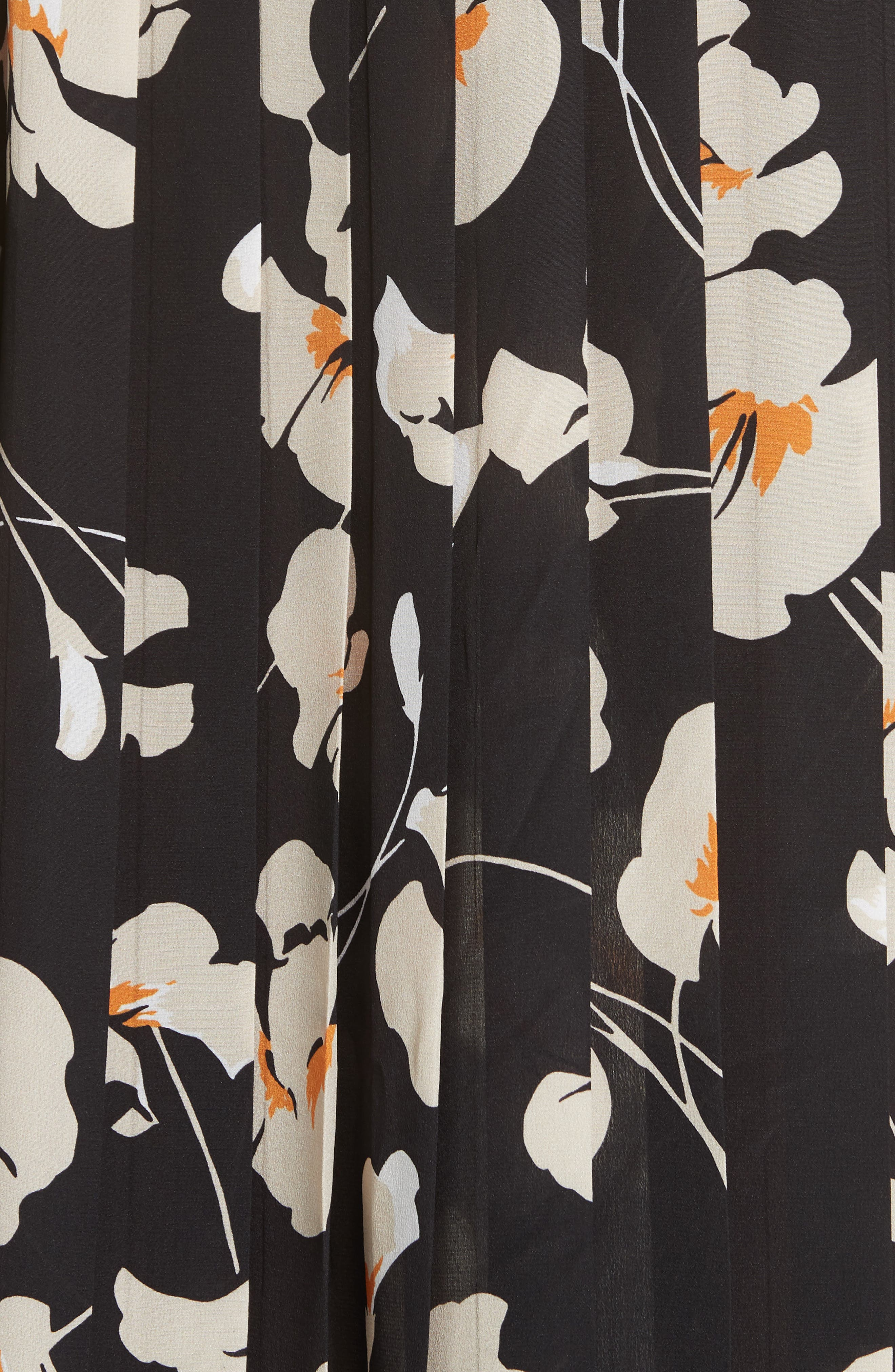 N°21,                             Nº21 Contrast Panel Floral Print Silk Skirt,                             Alternate thumbnail 5, color,                             STAMPA FONDO NERO
