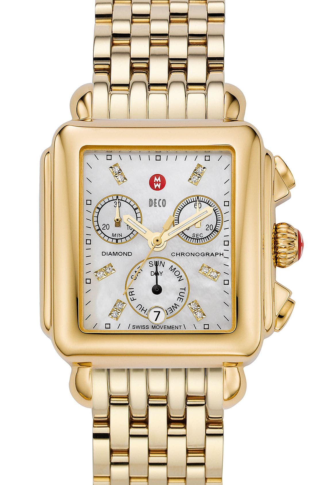 Deco Diamond Dial Gold Plated Watch Case, 33mm x 35mm,                             Alternate thumbnail 17, color,