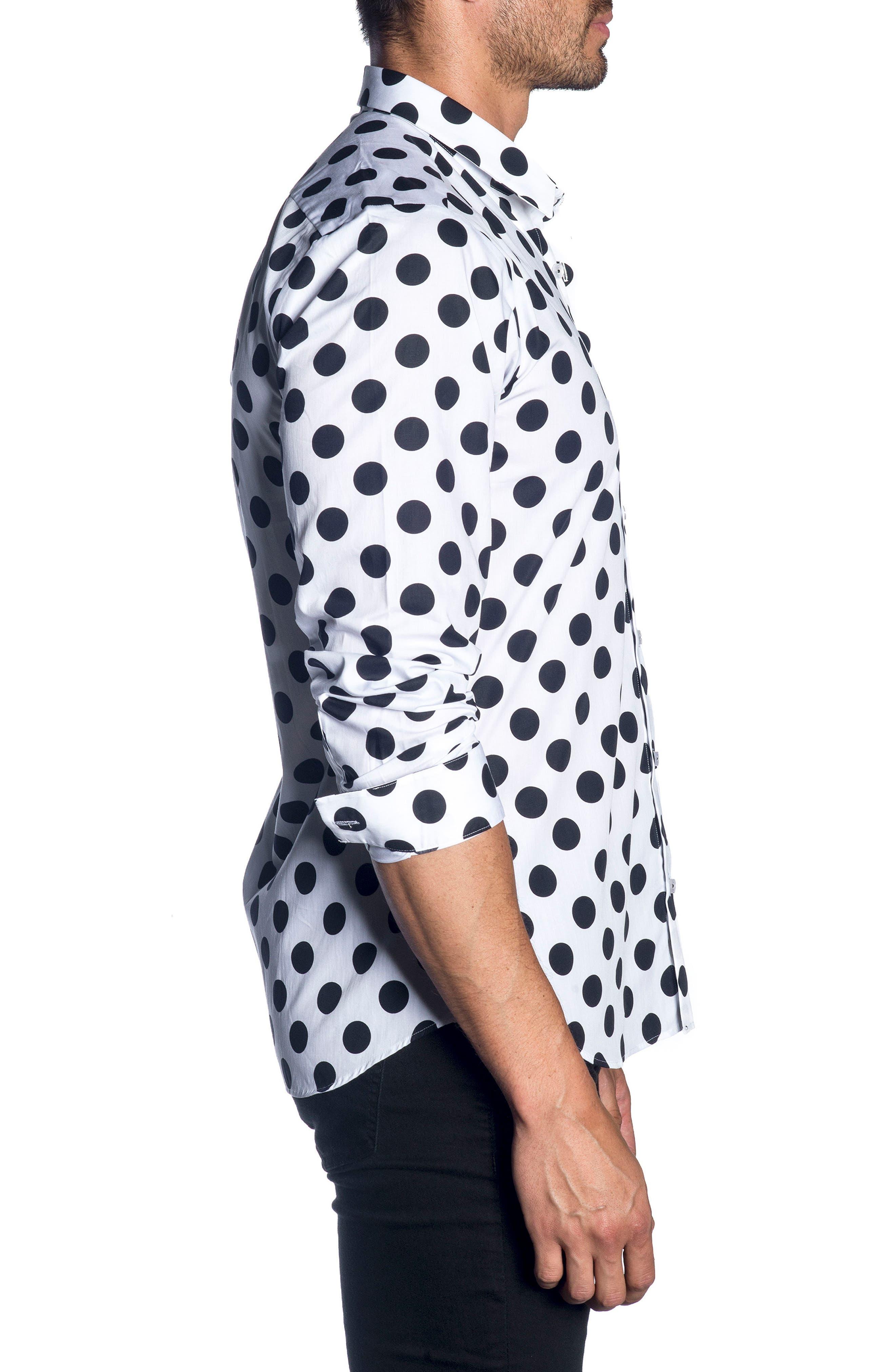 Trim Fit Sport Shirt,                             Alternate thumbnail 3, color,                             WHITE BLACK POLKA DOT