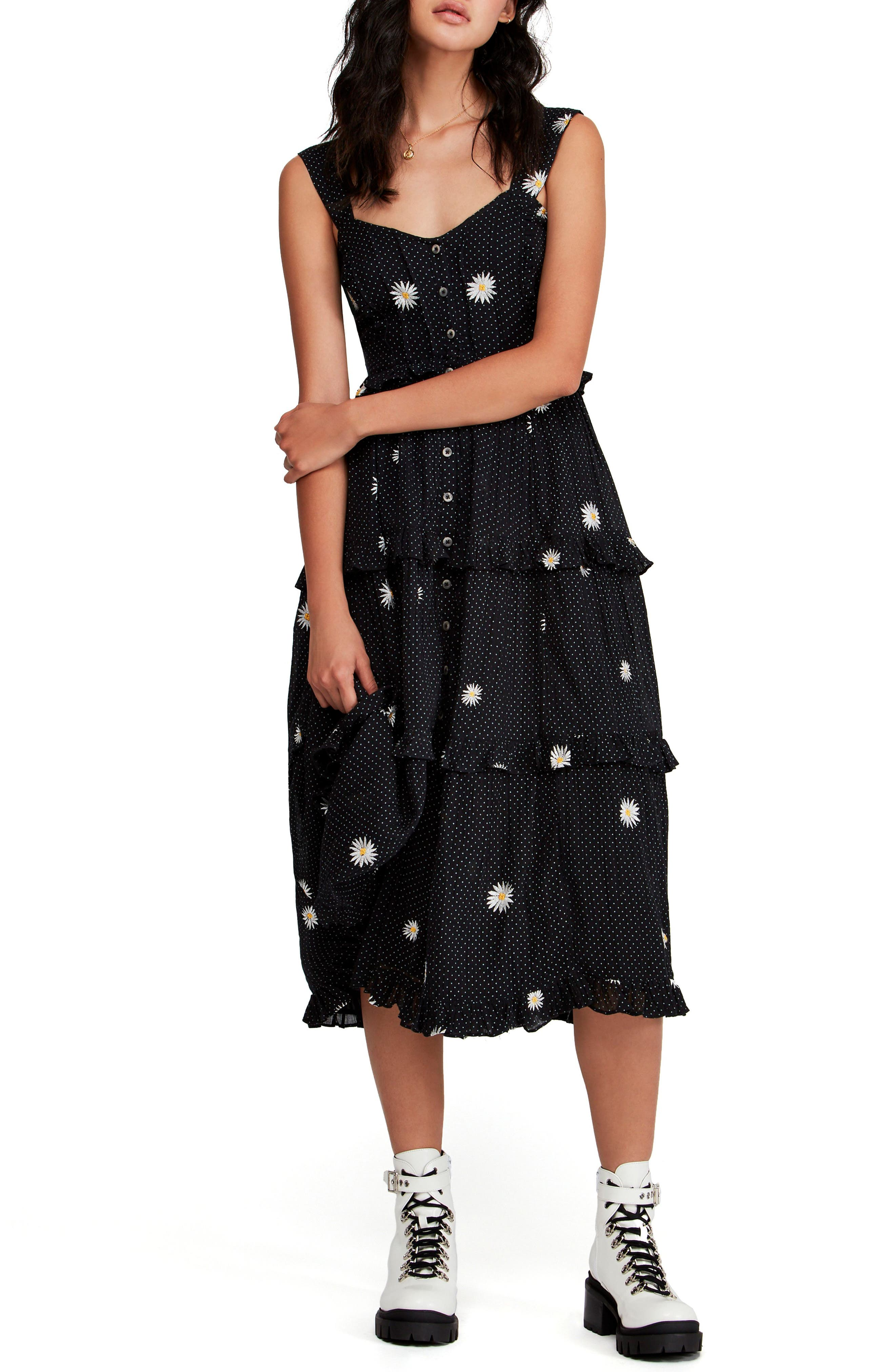 Free People Daisy Chain Midi Dress, Black