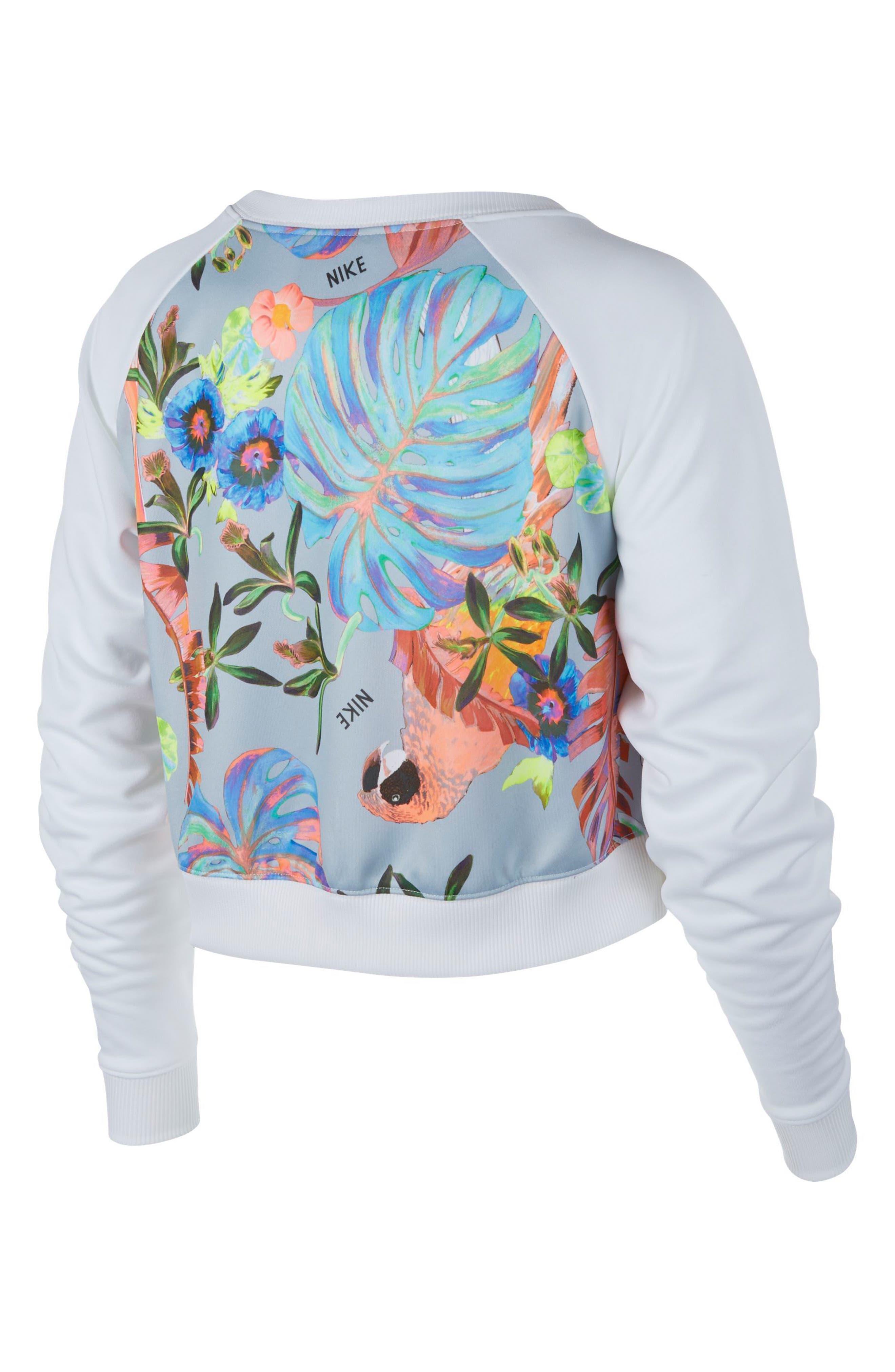 Print Sweatshirt,                             Alternate thumbnail 2, color,                             WHITE/ PURE PLATINUM/ WHITE