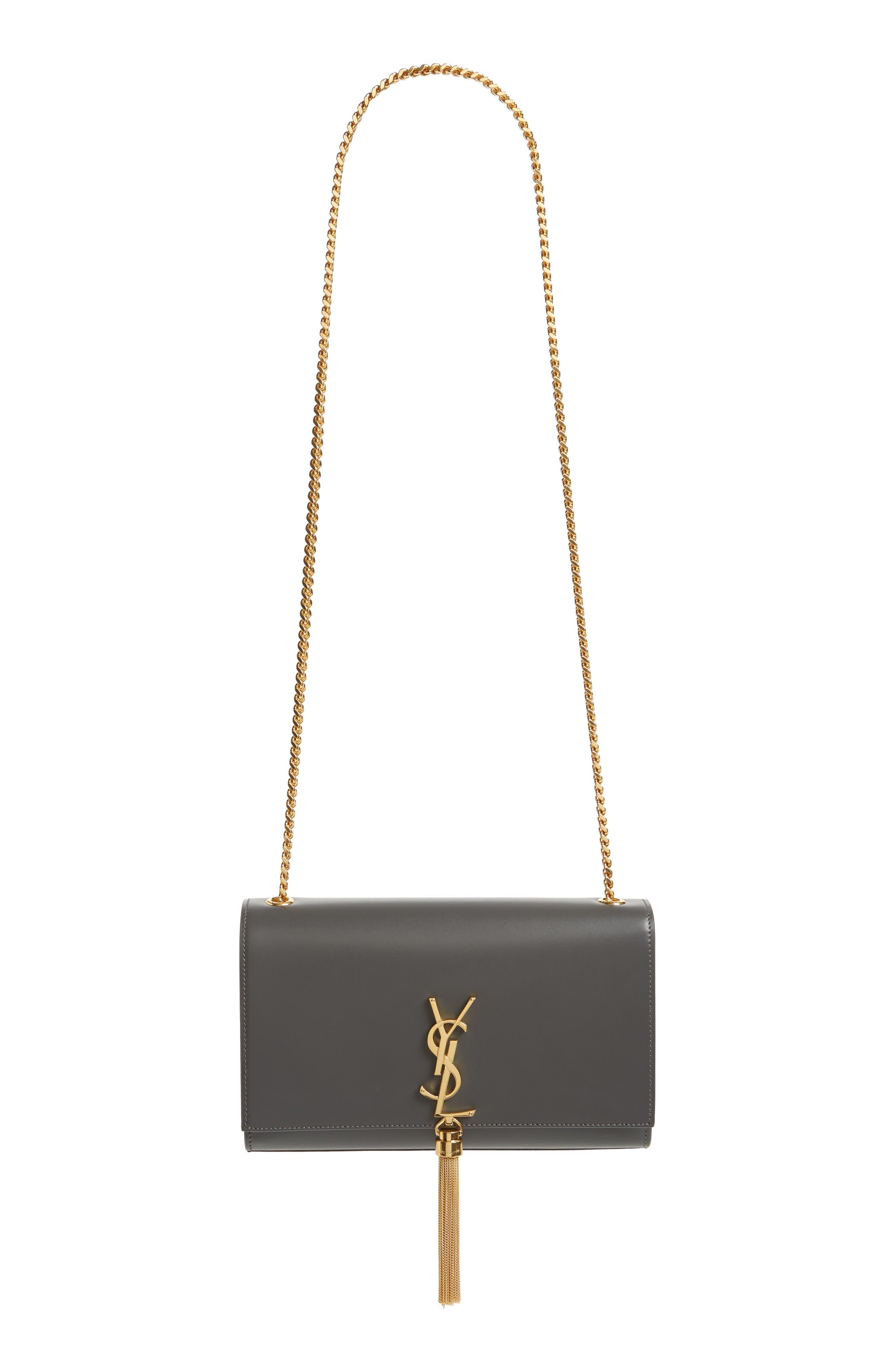 'Medium Monogram' Leather Shoulder Bag,                             Main thumbnail 1, color,                             STORM