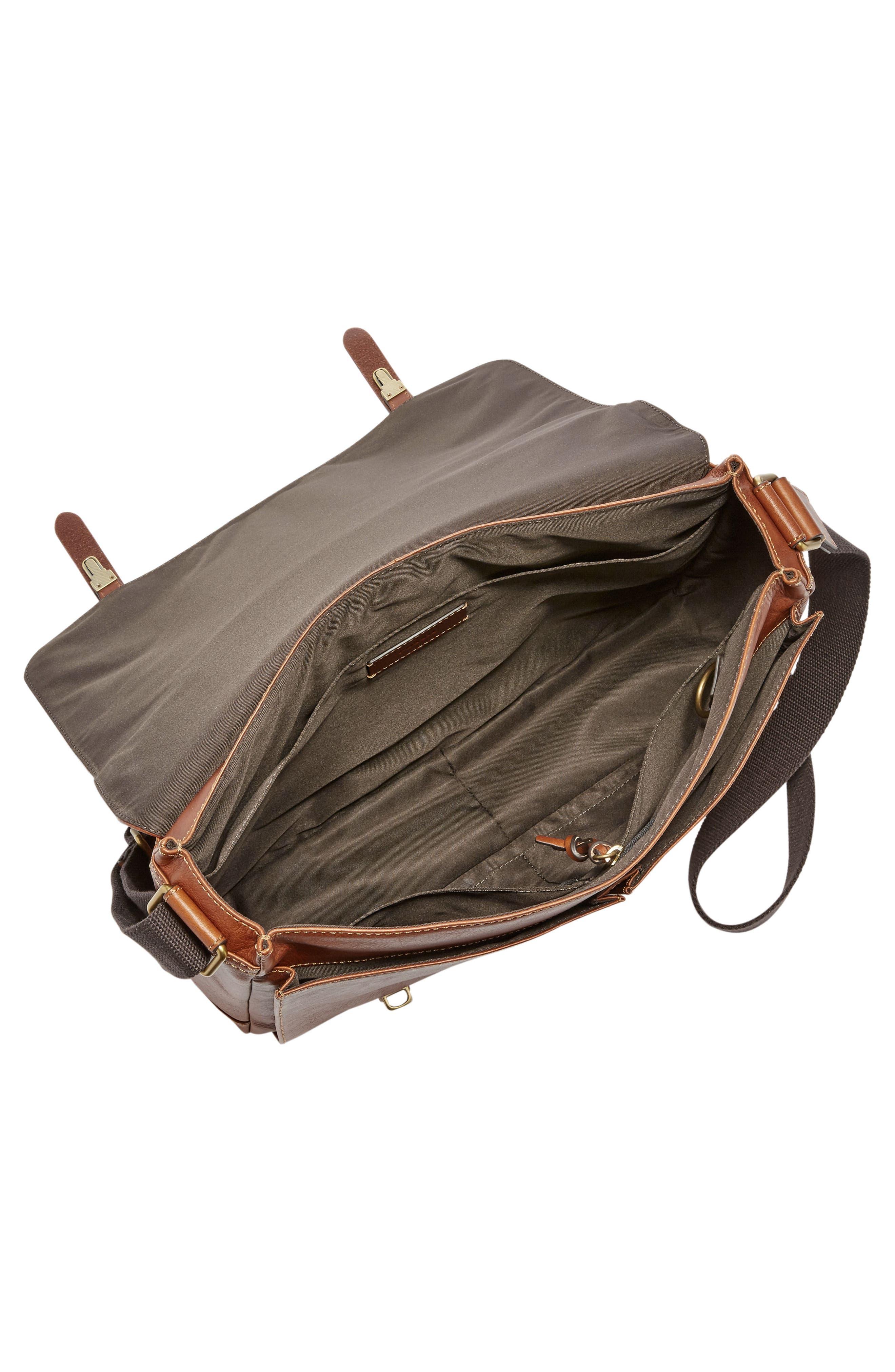 'Defender' Leather Messenger Bag,                             Alternate thumbnail 3, color,                             202