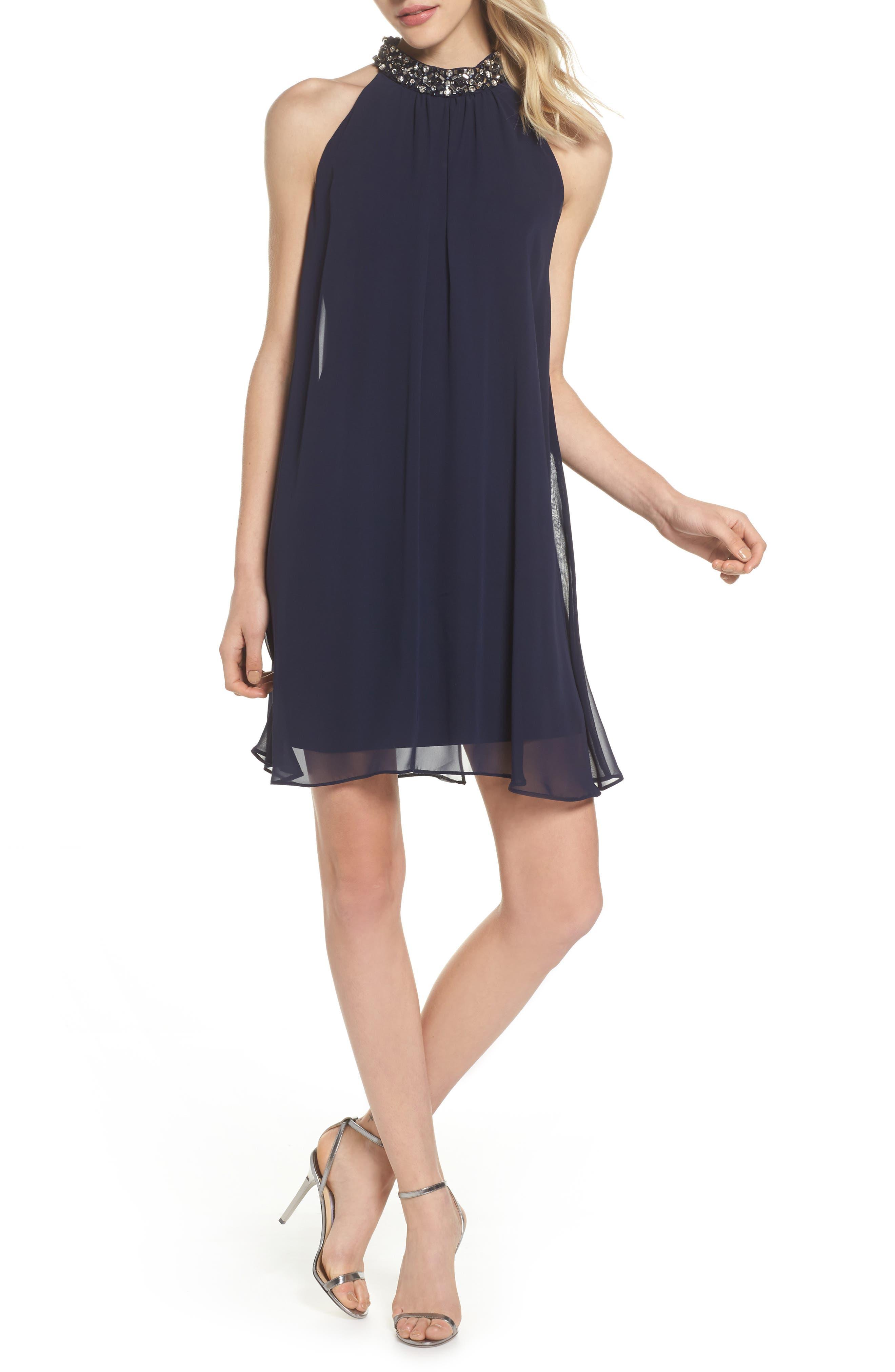Beaded Collar Trapeze Dress,                             Main thumbnail 1, color,