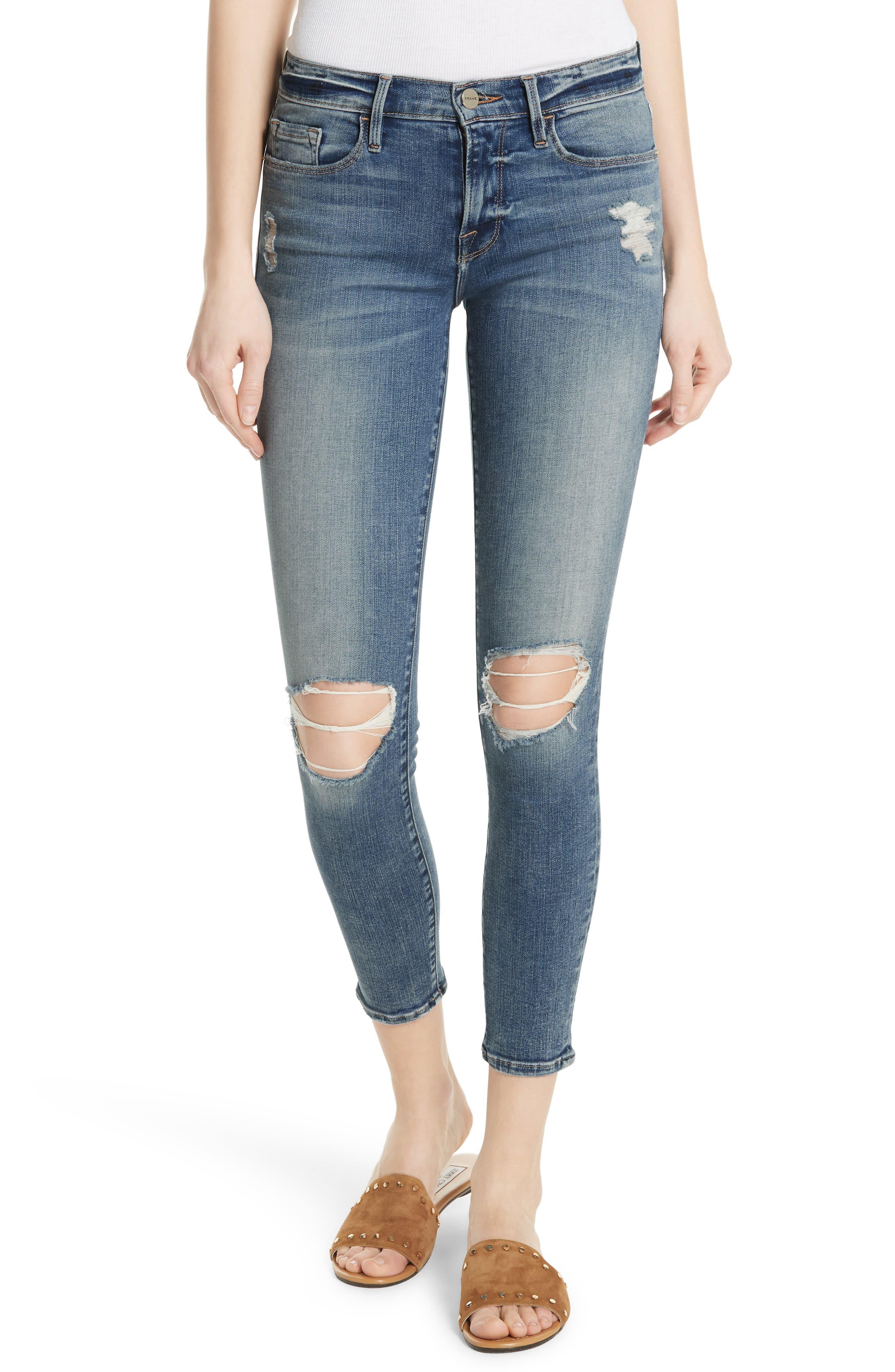 Le Skinny de Jeanne Crop Jeans,                             Main thumbnail 1, color,                             STOKES