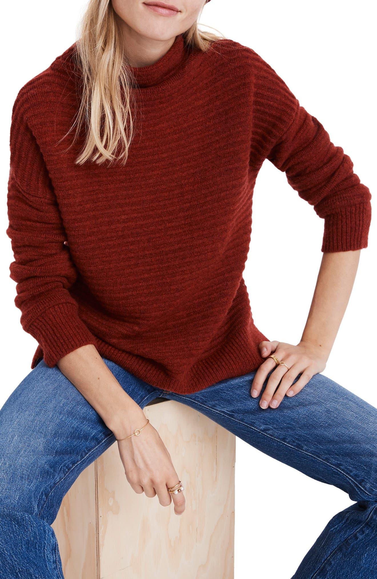 Belmont Mock Neck Sweater, Main, color, HEATHER CARMINE