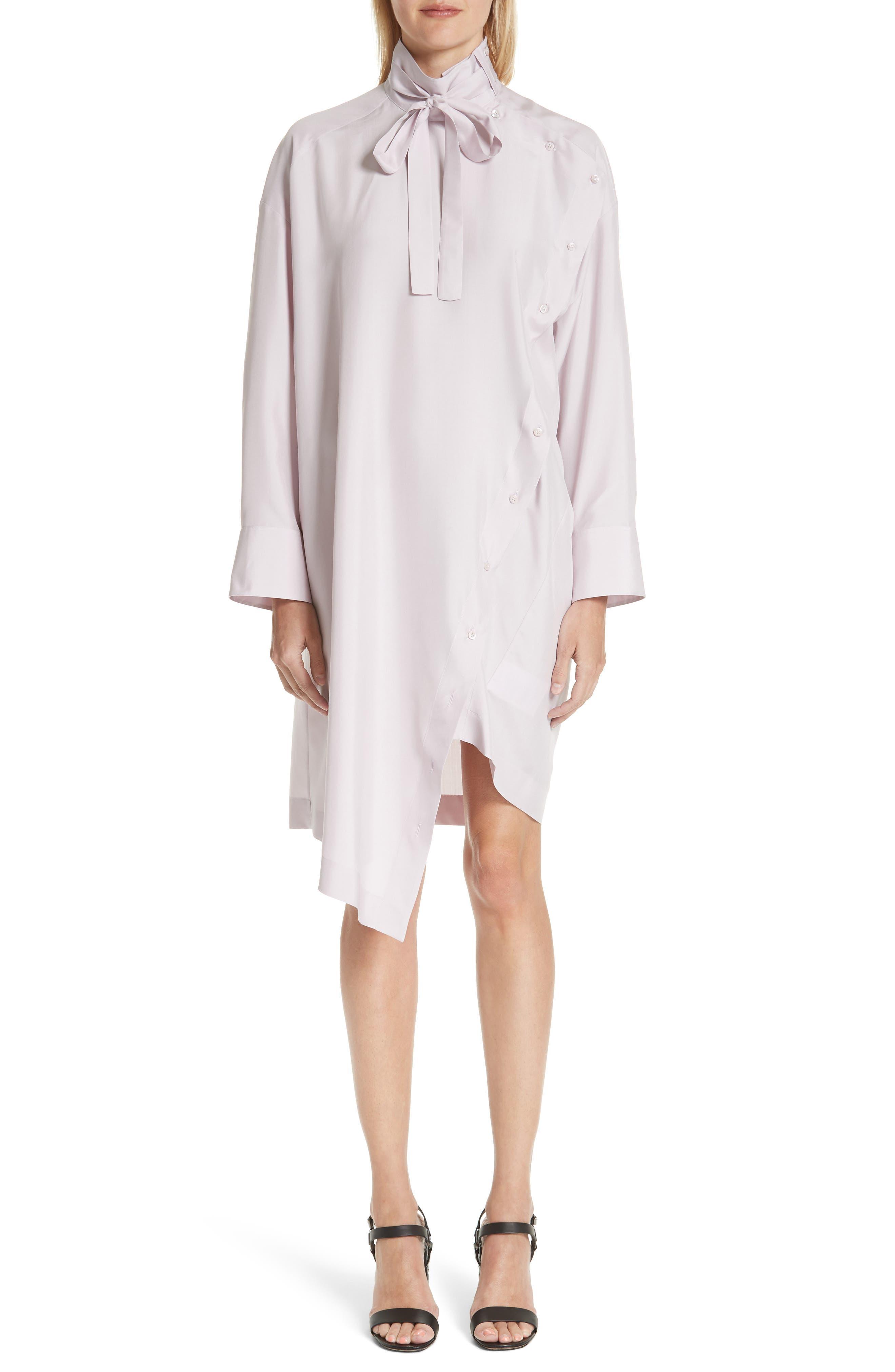 Tie Neck Silk Dress,                         Main,                         color, 650