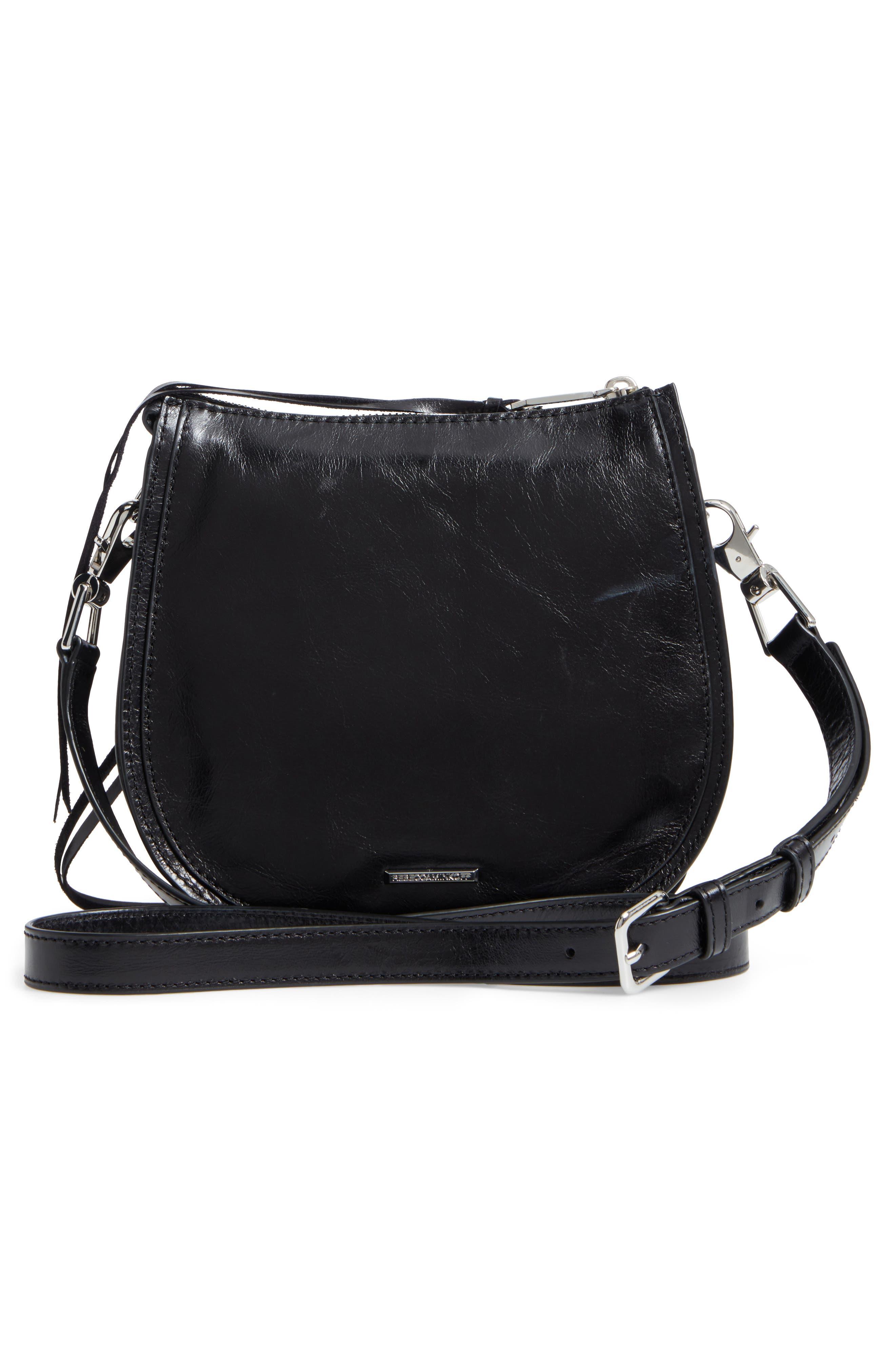 Mini Vanity Leather Saddle Bag,                             Alternate thumbnail 3, color,                             001