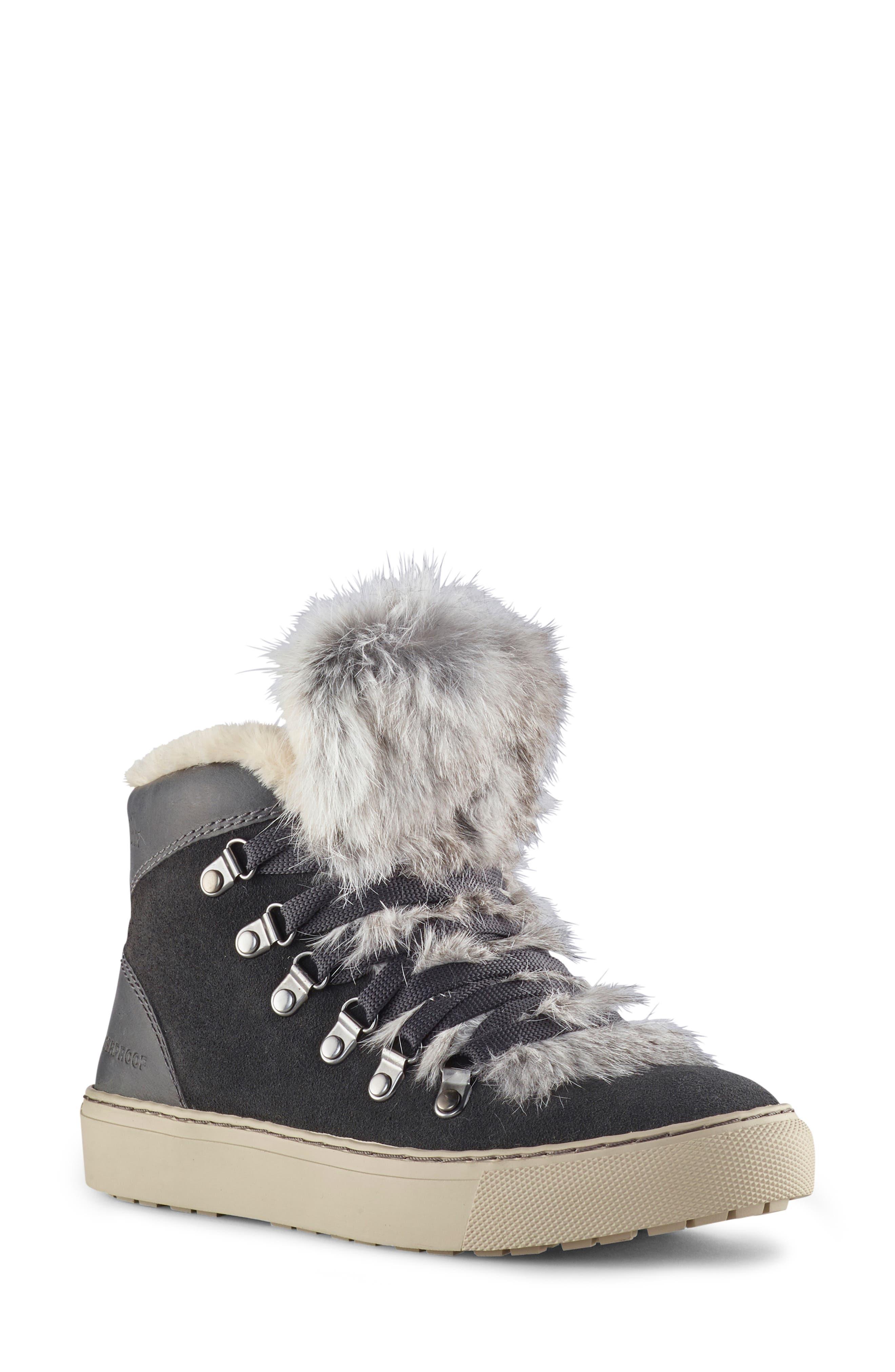 COUGAR,                             Dani High Top Sneaker with Genuine Rabbit Fur Trim,                             Main thumbnail 1, color,                             PEWTER SUEDE