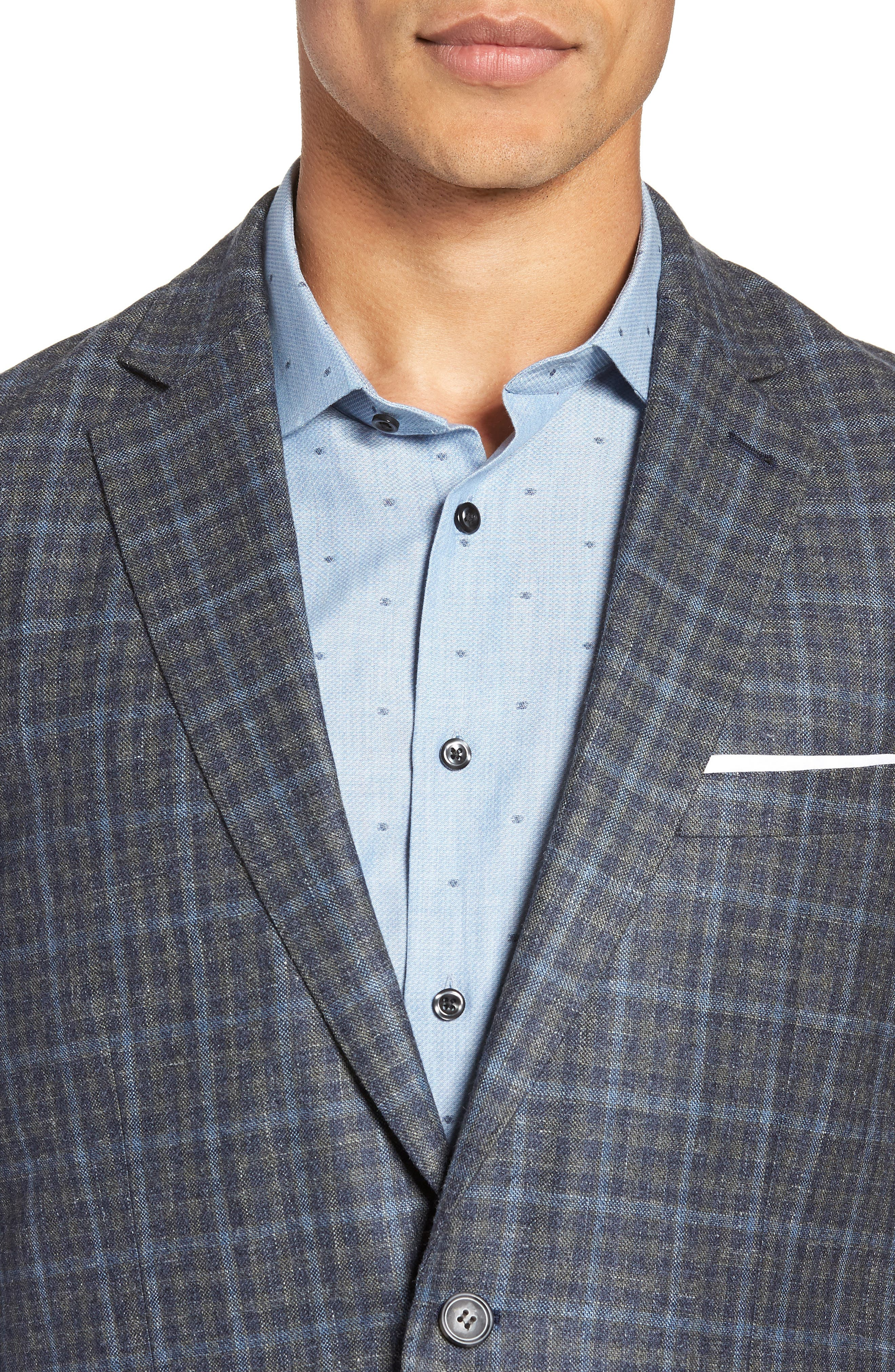 Crown Wool & Silk Blend Plaid Sport Coat,                             Alternate thumbnail 4, color,                             GREY