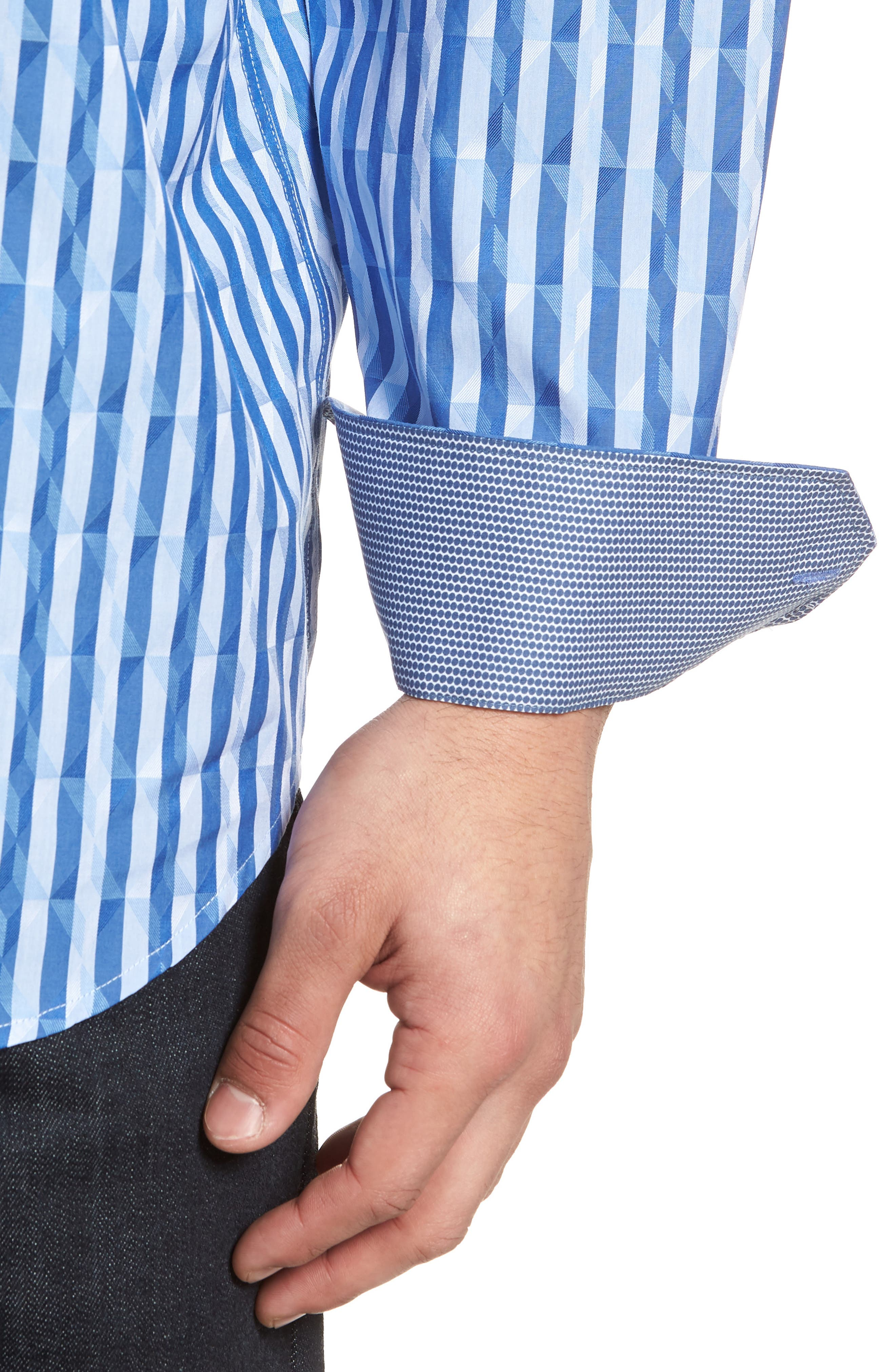 Candy Stripe Geometric Classic Fit Sport Shirt,                             Alternate thumbnail 4, color,                             422