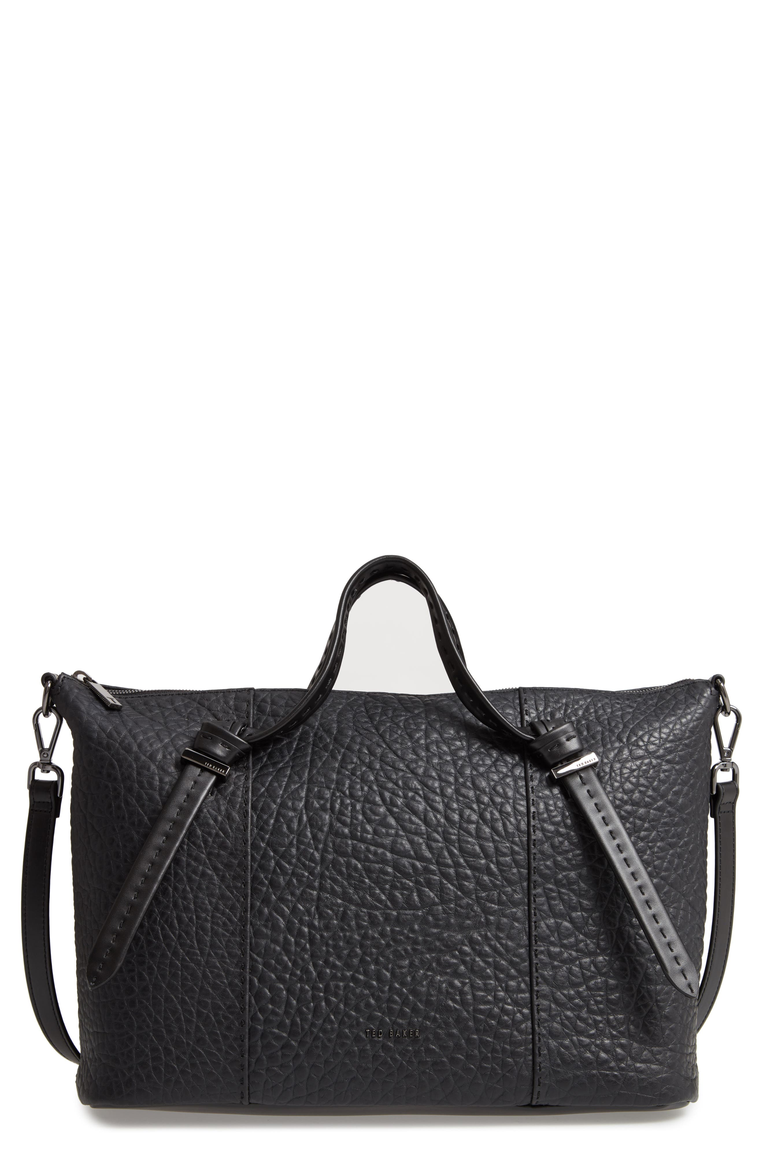 Oellie Large Leather Tote,                             Main thumbnail 1, color,                             JET BLACK