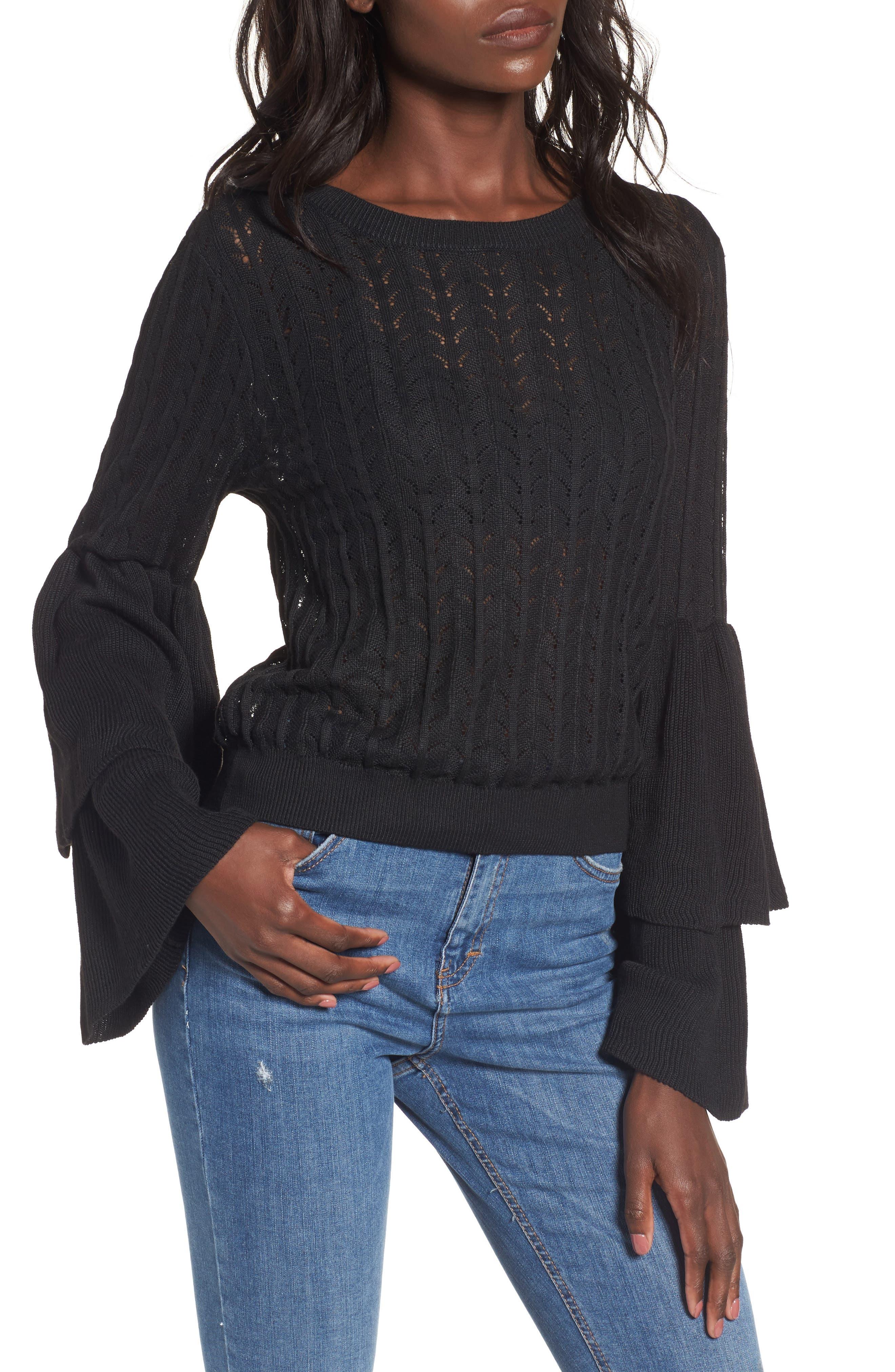 Molly Ruffle Sweater,                         Main,                         color, 001