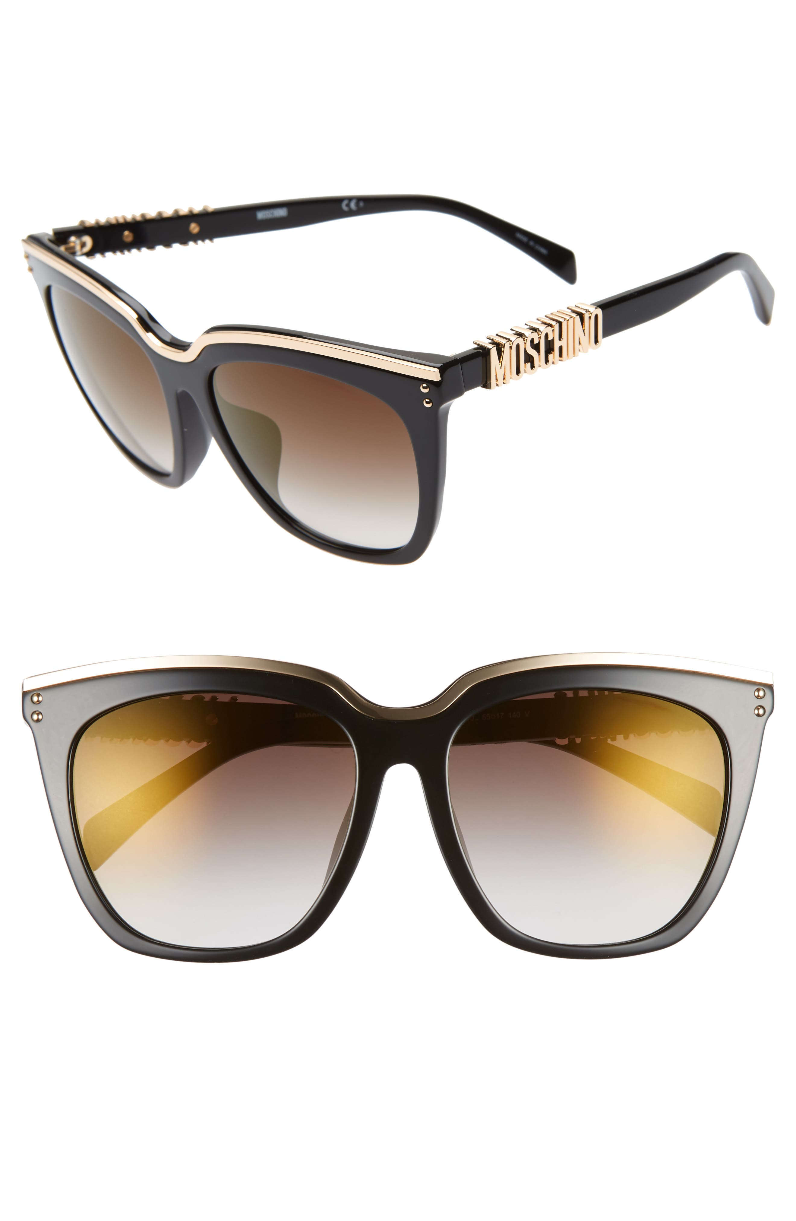 55mm Special Fit Mirrored Cat Eye Sunglasses,                             Main thumbnail 1, color,                             BLACK/ GOLD