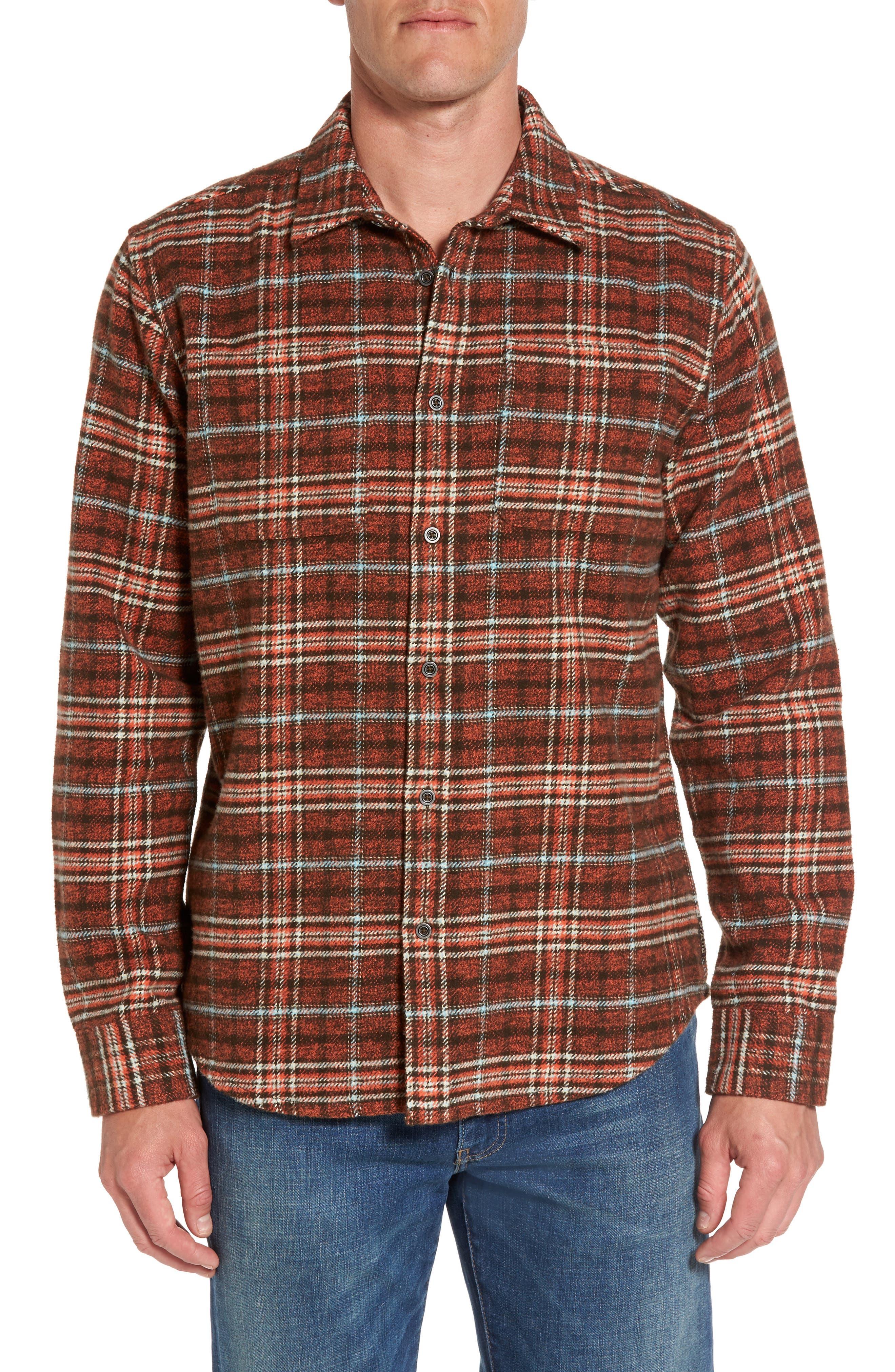 Brayden Regular Fit Plaid Flannel Shirt,                             Main thumbnail 2, color,