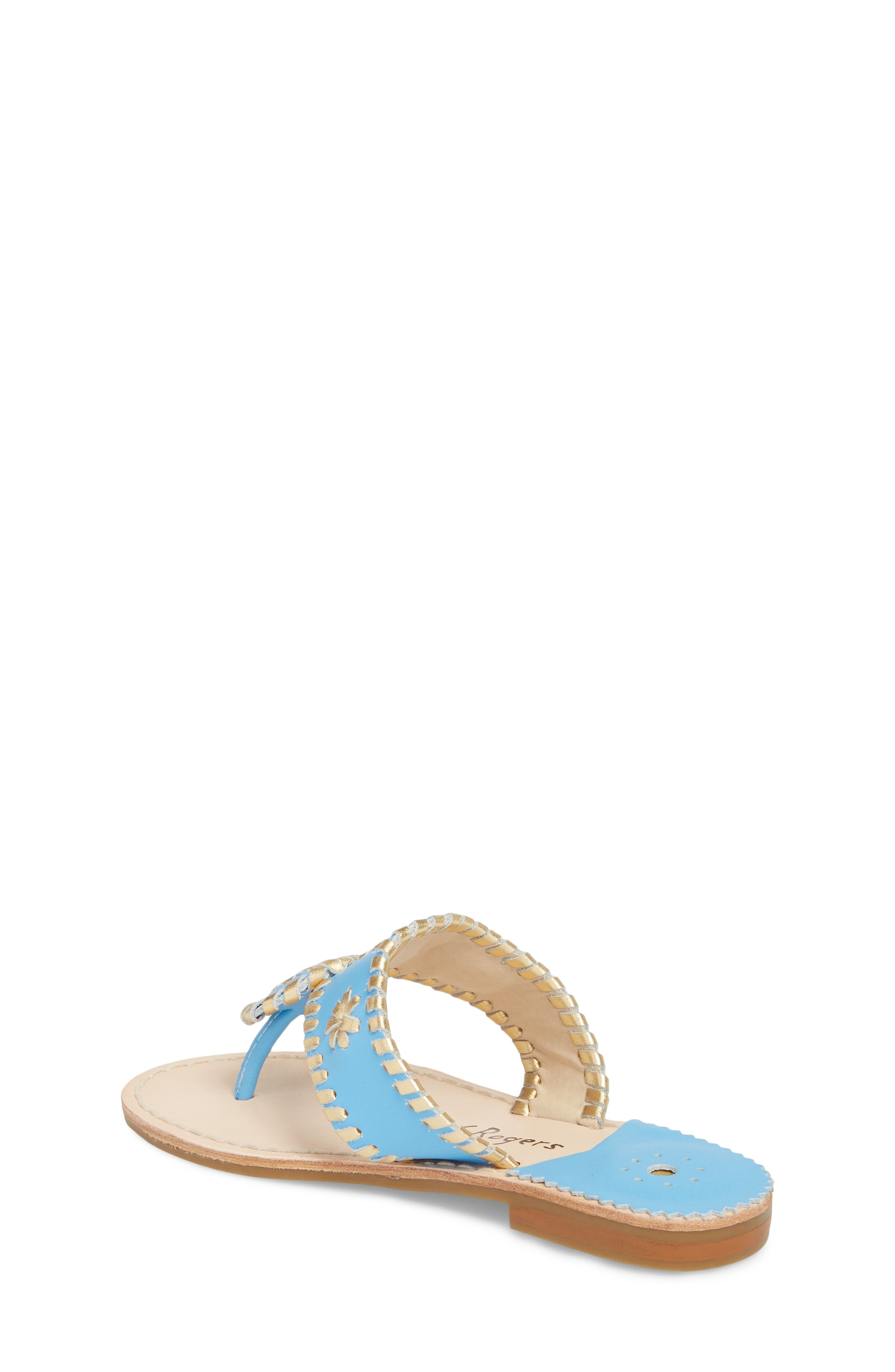 Miss Hollis Metallic Trim Thong Sandal,                             Alternate thumbnail 2, color,                             FRENCH BLUE/ GOLD LEATHER
