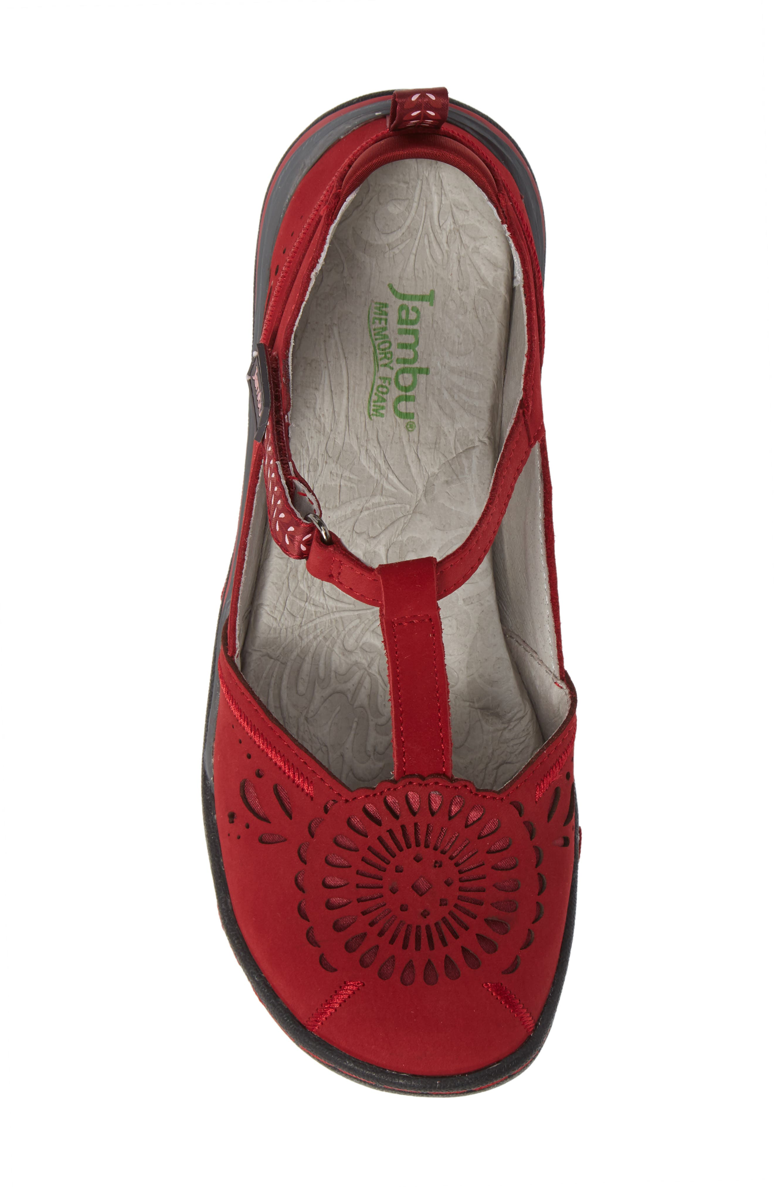 Sunkist Strappy Sneaker,                             Alternate thumbnail 5, color,                             RED/ PETAL NUBUCK LEATHER