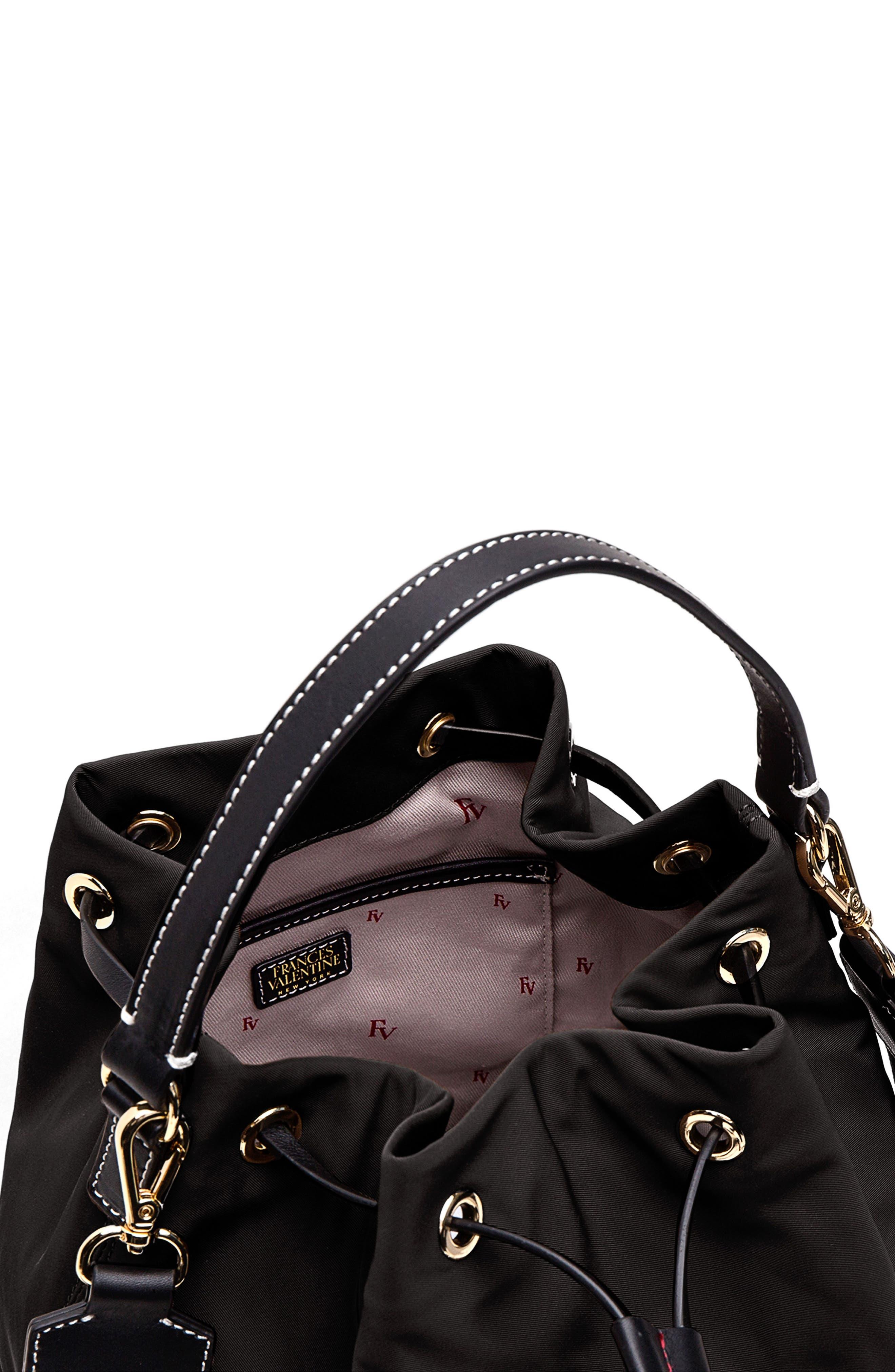 Medium Ann Nylon Bucket Bag,                             Alternate thumbnail 7, color,                             001
