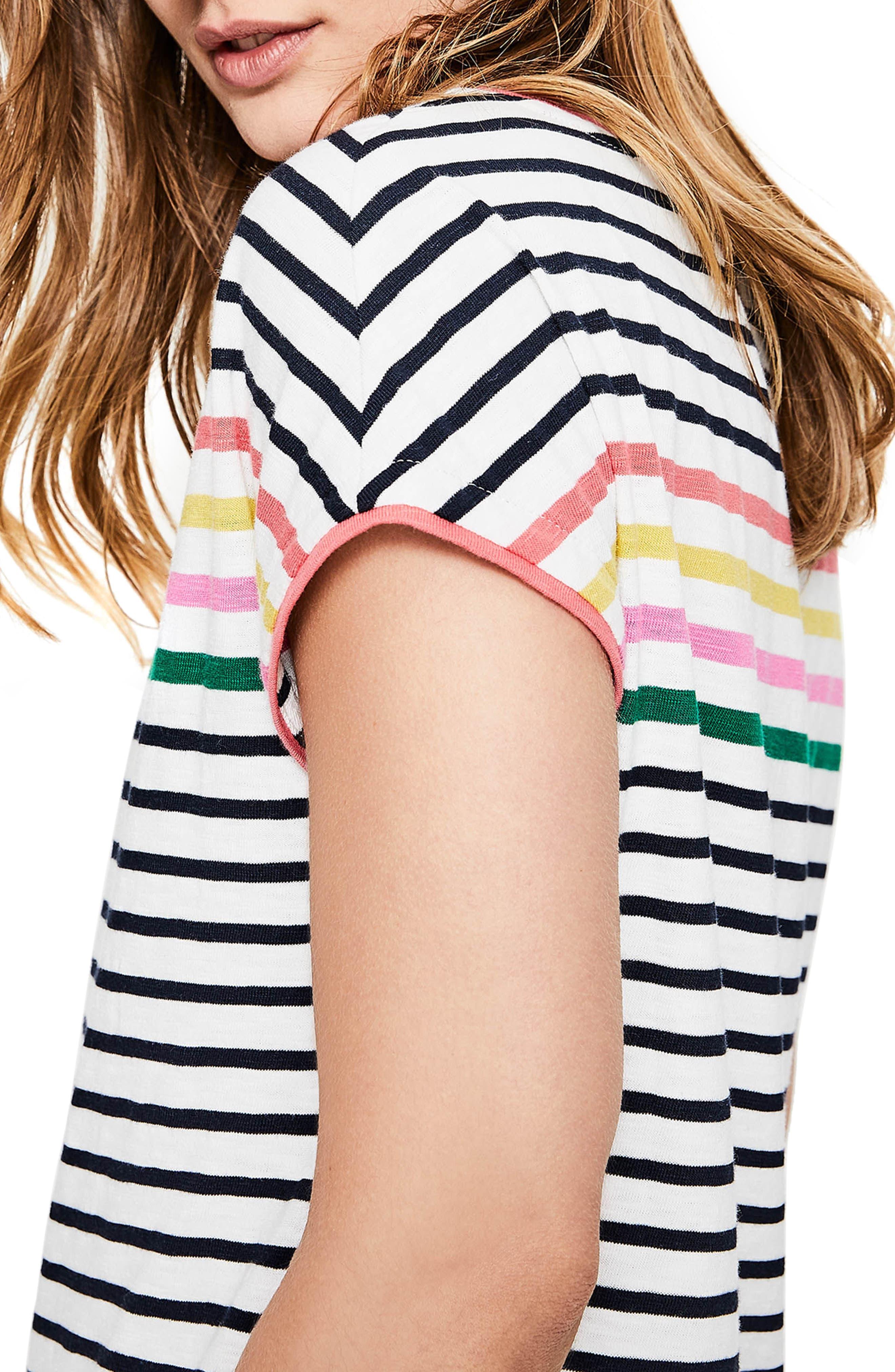 BODEN,                             Paulina Stripe T-Shirt Dress,                             Alternate thumbnail 4, color,                             186