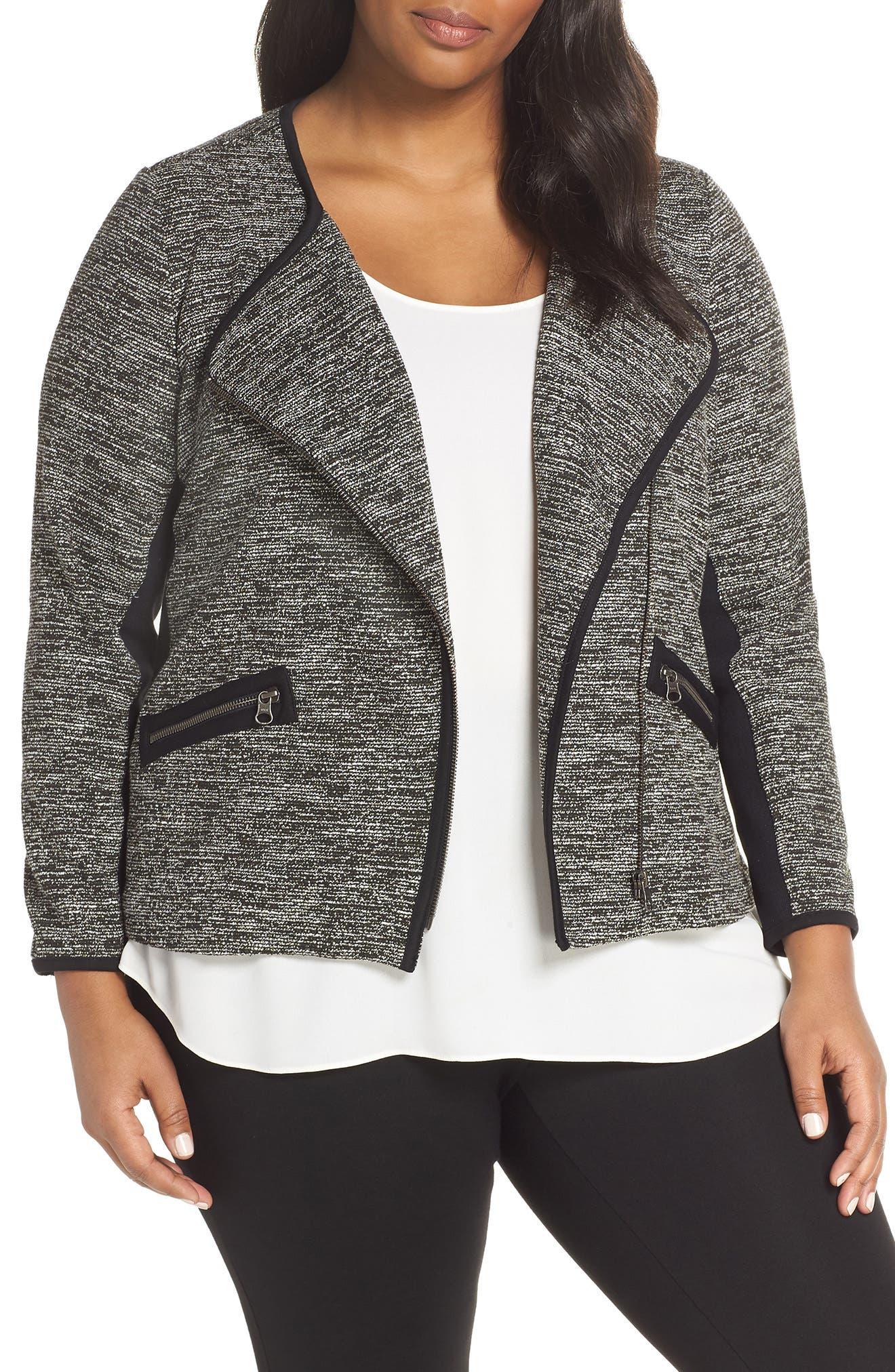 Mix Media Knit Jacket,                         Main,                         color, BLACK TWEED