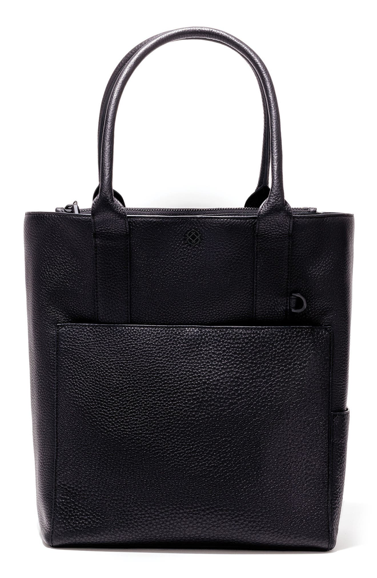 Charlie Leather Tote,                         Main,                         color, ONYX