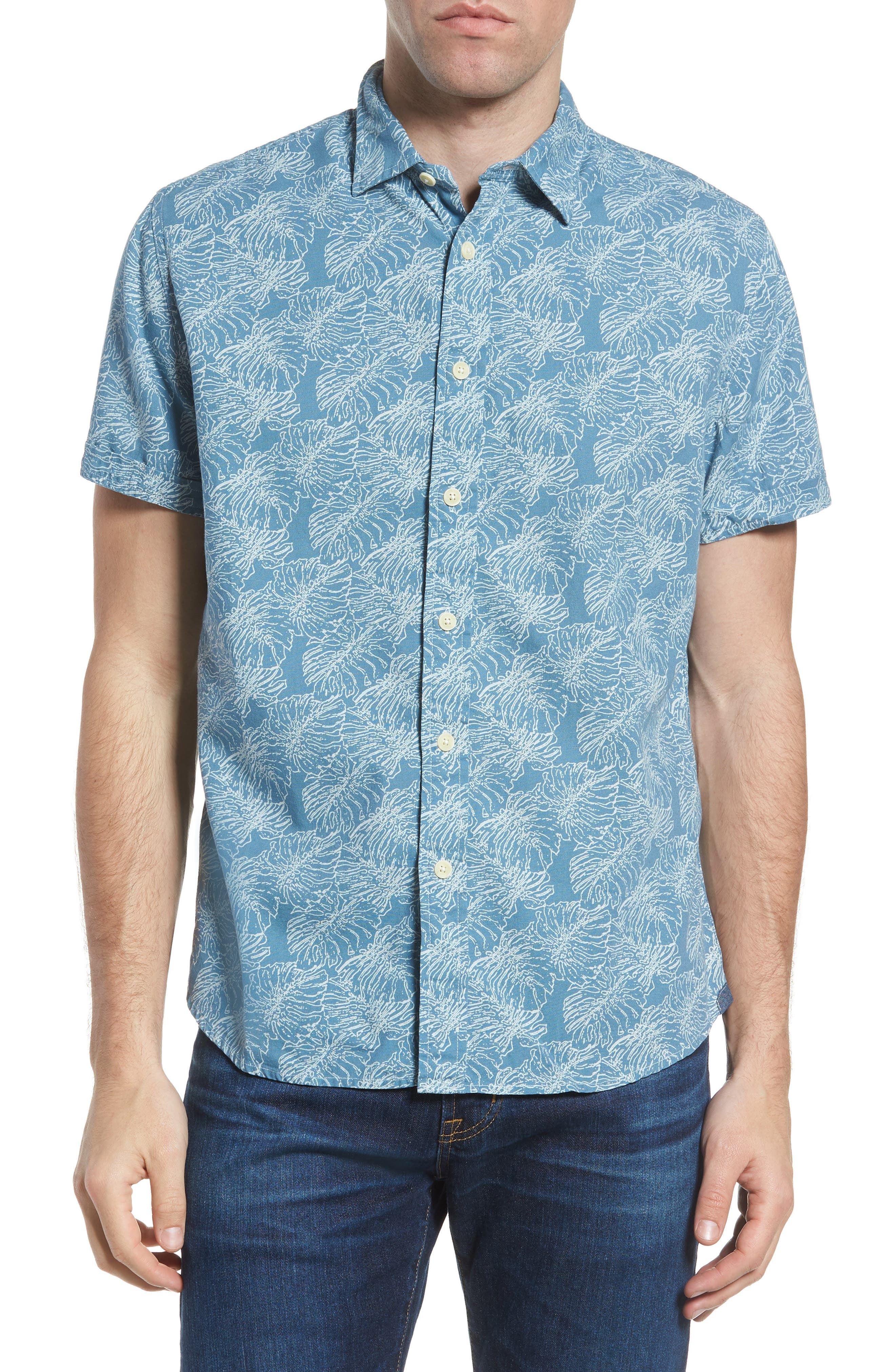 Leaf Print Short Sleeve Sport Shirt,                         Main,                         color, 424