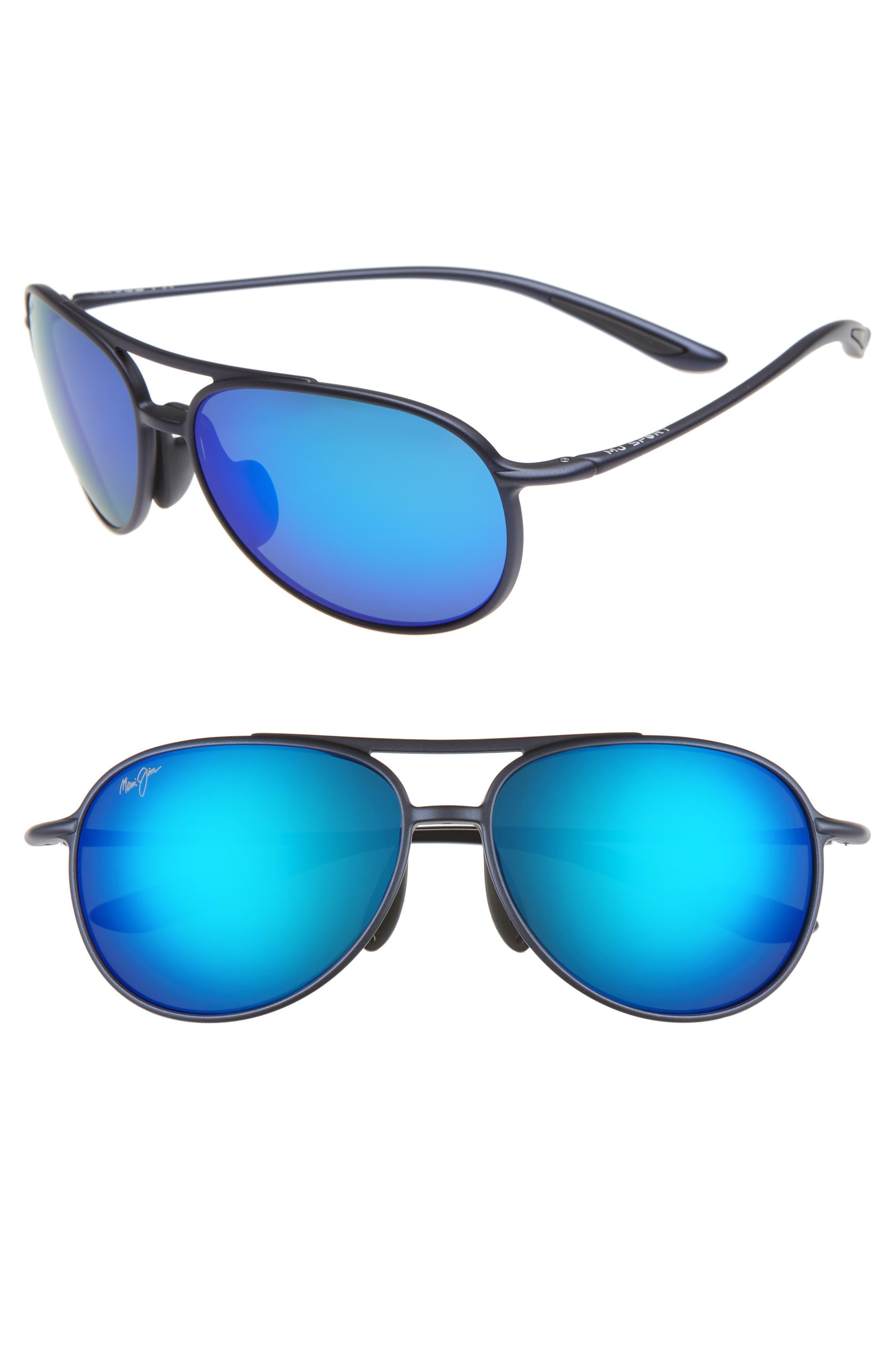 Maui Jim Alelele 60Mm Aviator Sunglasses - Matte Blue/blue Hawaii