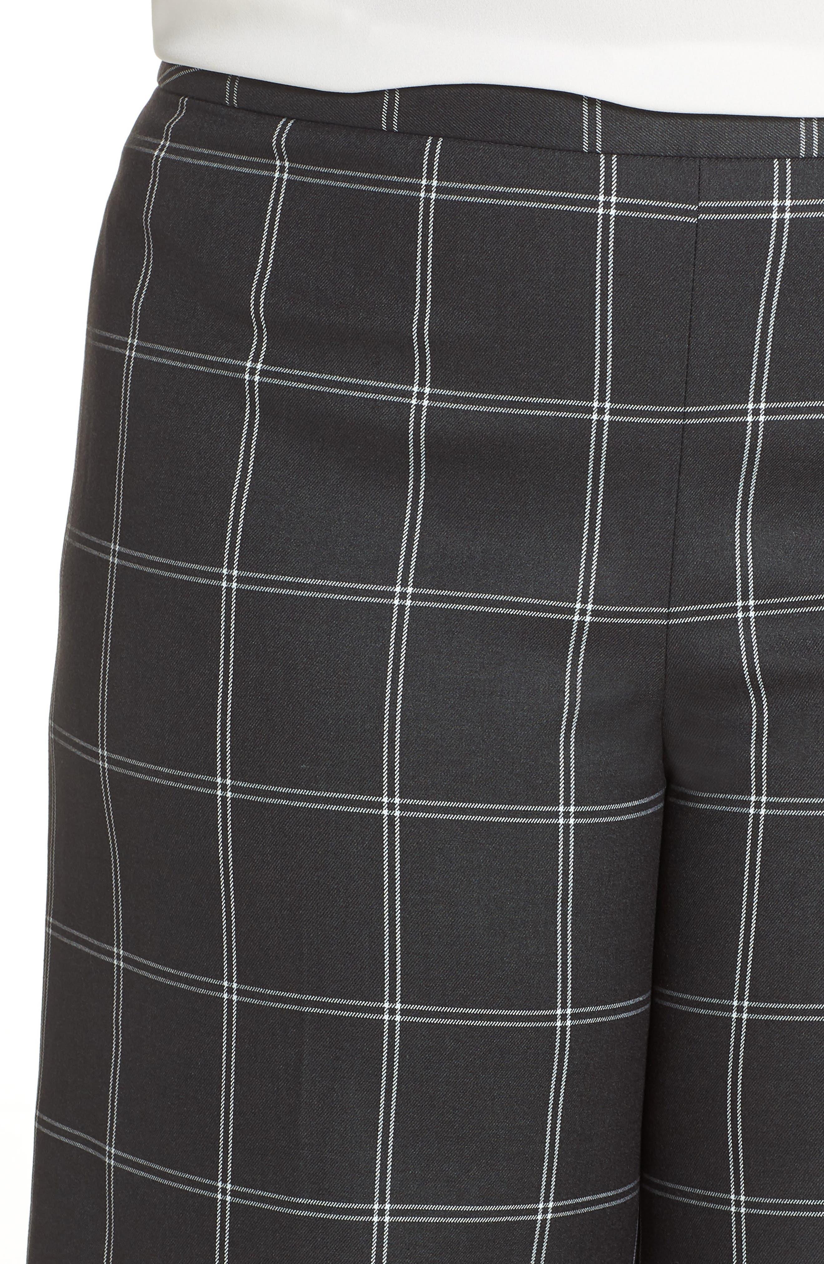 Windowpane Check Wide Leg Crop Pants,                             Alternate thumbnail 4, color,                             GREY TWILL PLAID