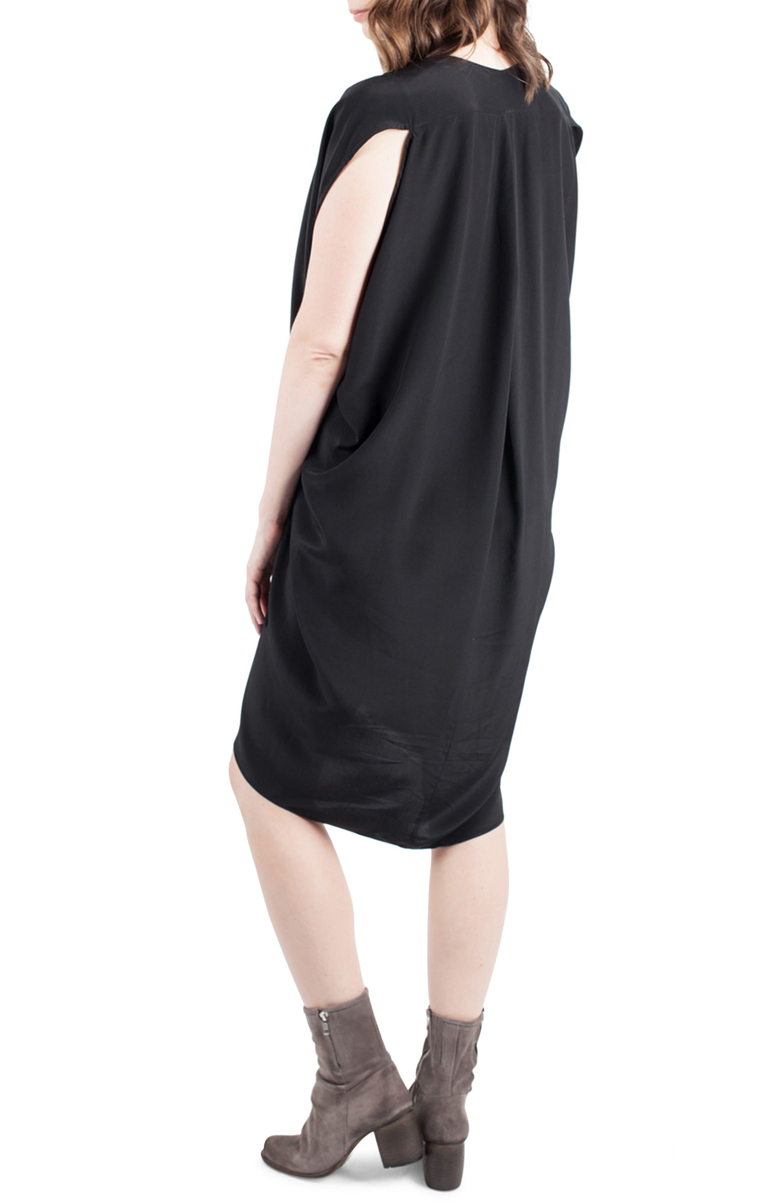 Silk Maternity/Nursing Dress,                             Alternate thumbnail 4, color,                             001