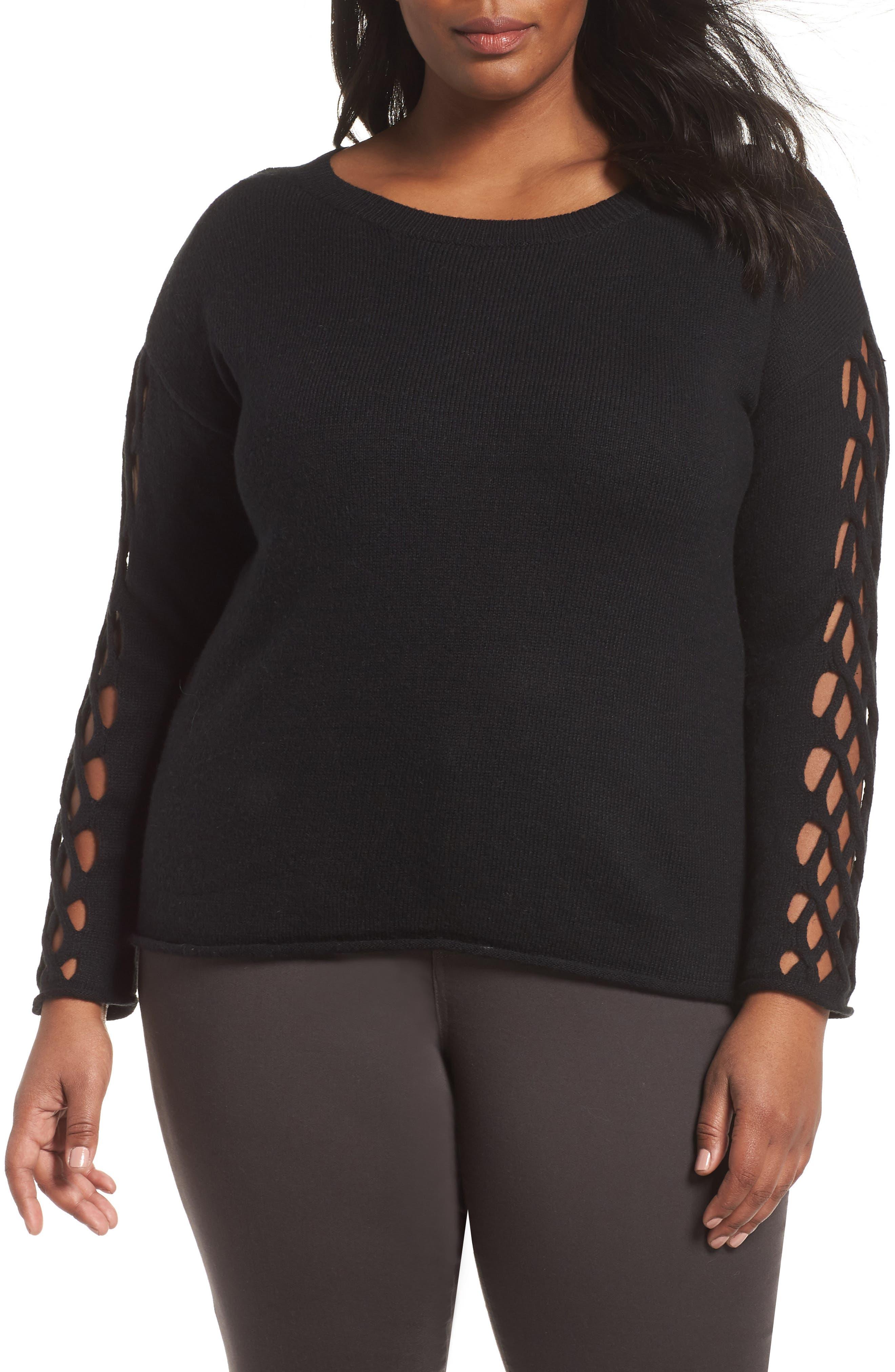 Braided Crewneck Sweater,                             Main thumbnail 1, color,                             011