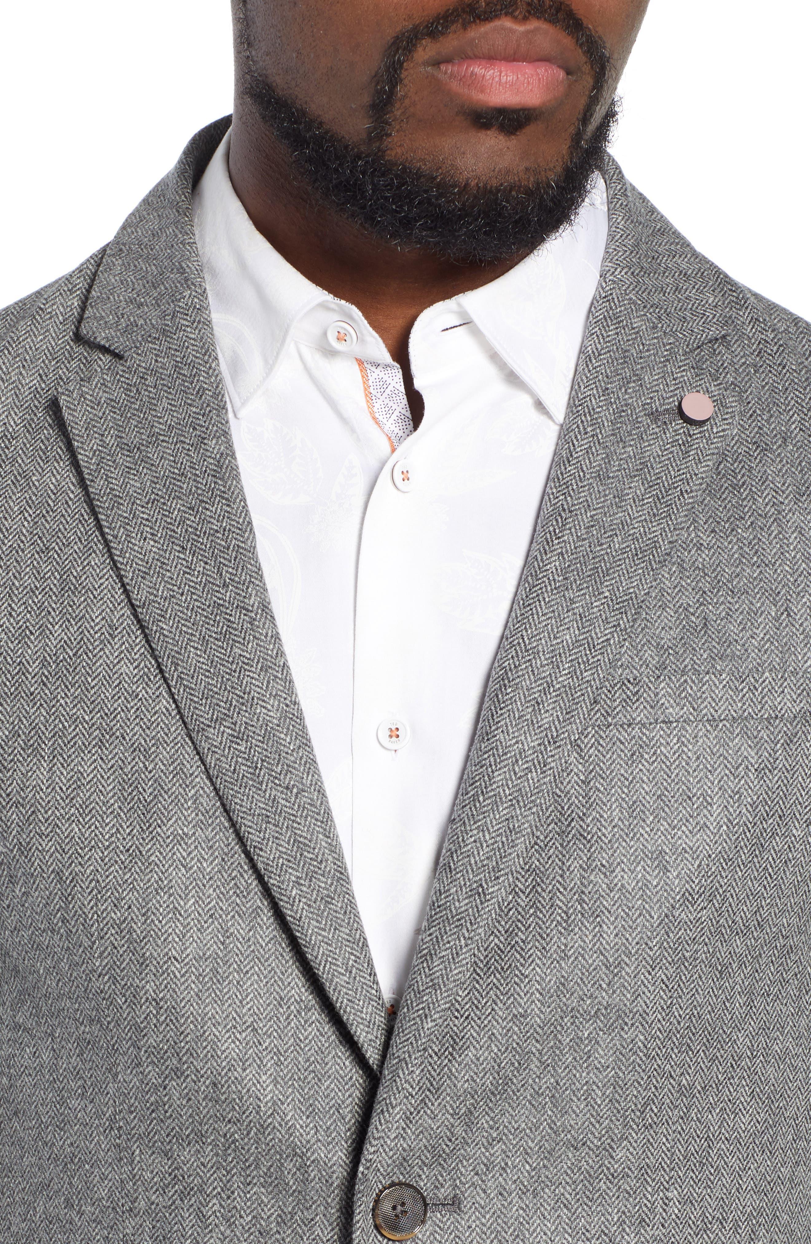 Dual Look Herringbone Jacket,                             Alternate thumbnail 4, color,                             LIGHT GREY