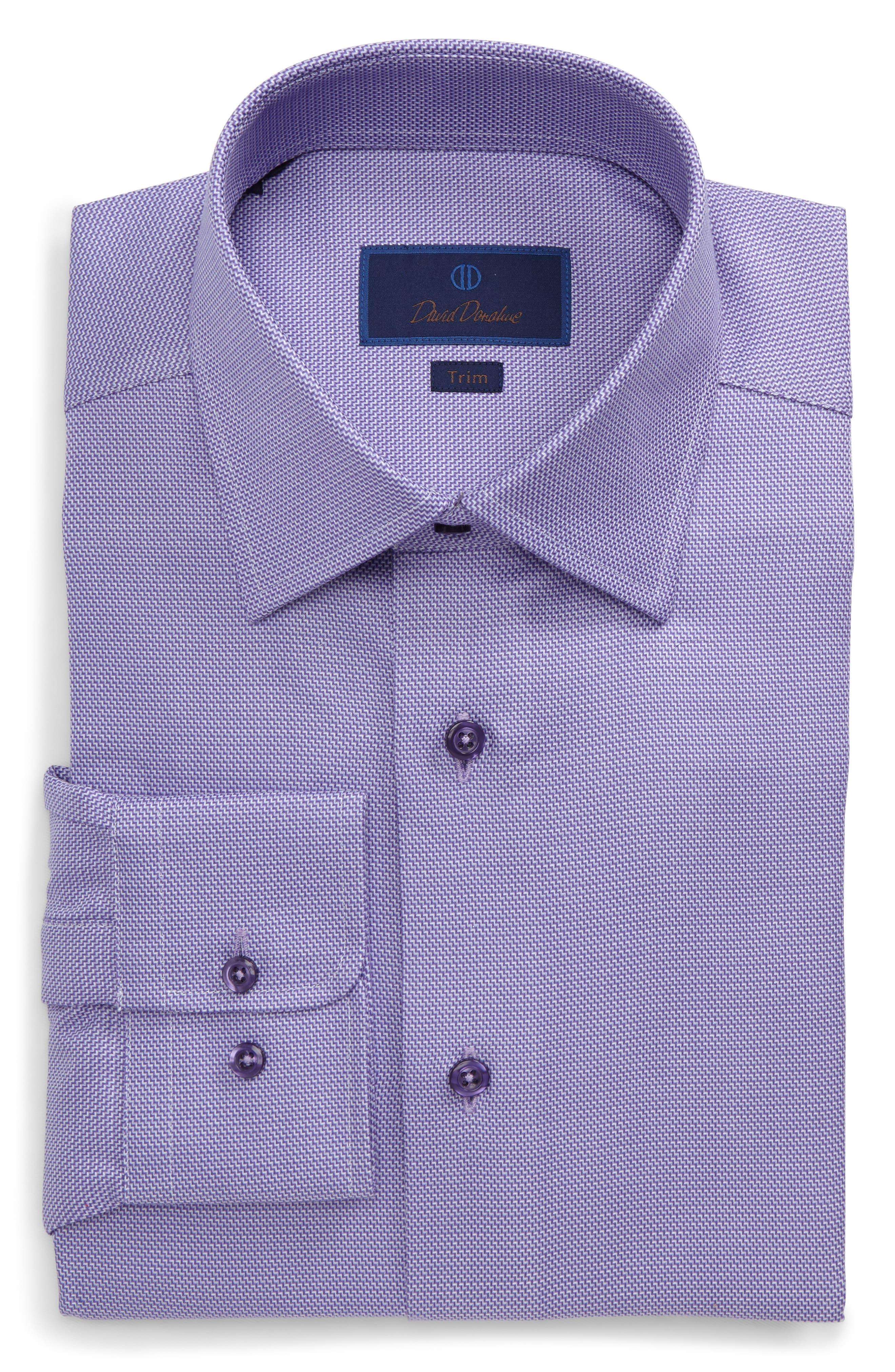Trim Fit Solid Dress Shirt,                             Main thumbnail 1, color,                             LILAC