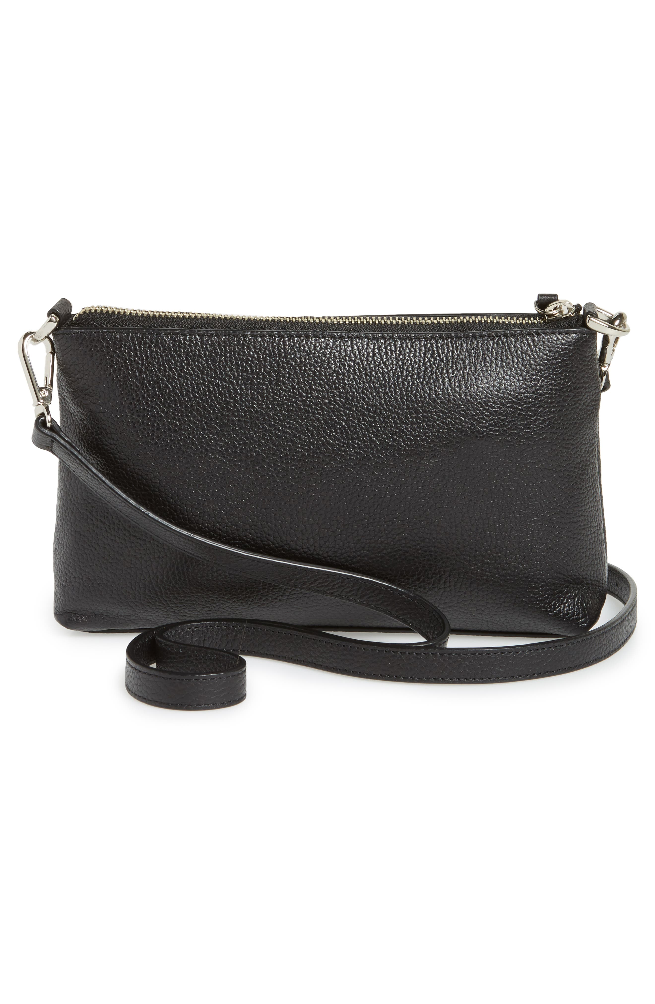 Brixton Convertible Leather Crossbody Bag with Pop-Out Card Holder,                             Alternate thumbnail 4, color,                             001