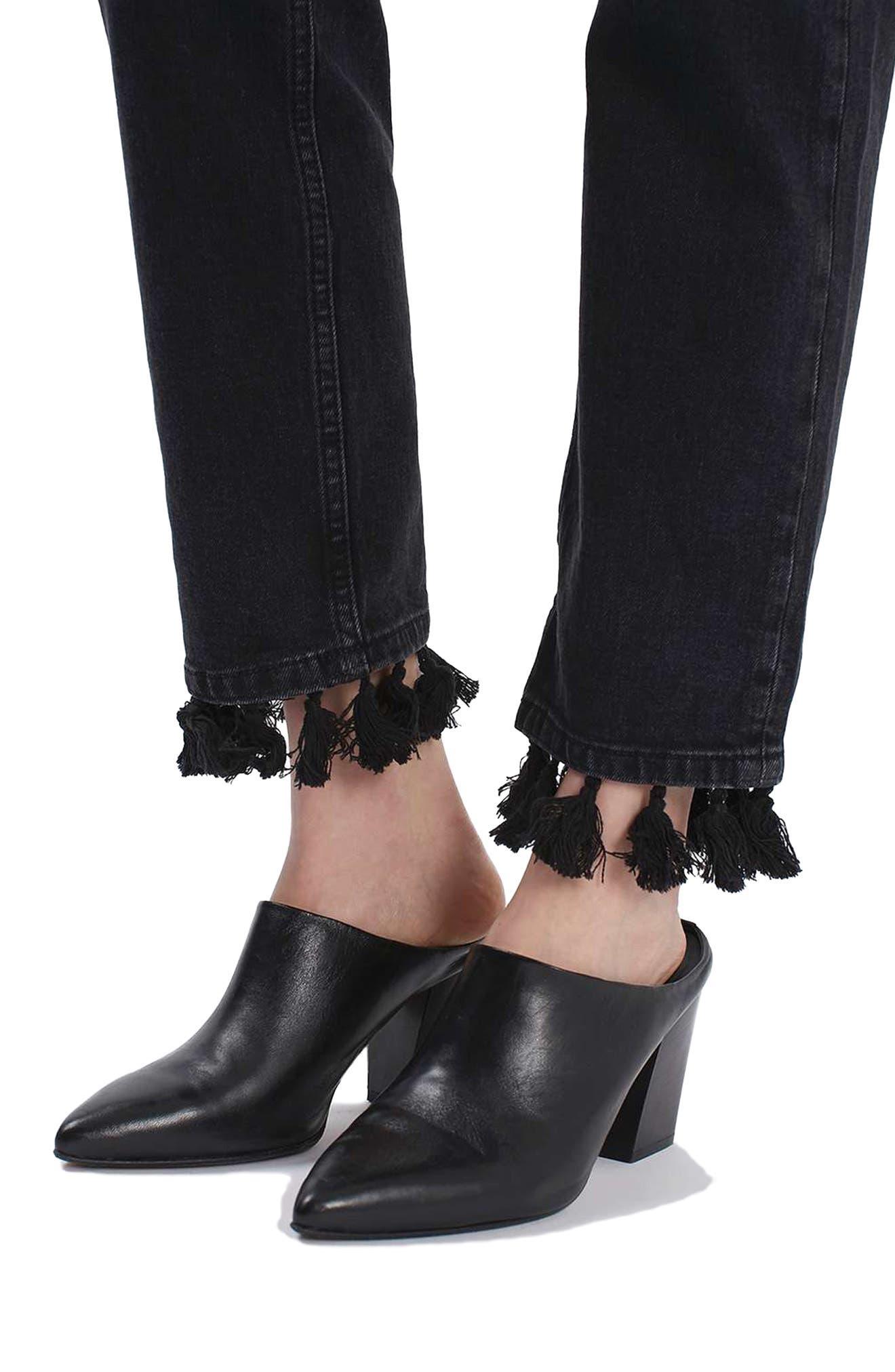 Tassel Hem Straight Leg Jeans,                             Alternate thumbnail 3, color,                             001